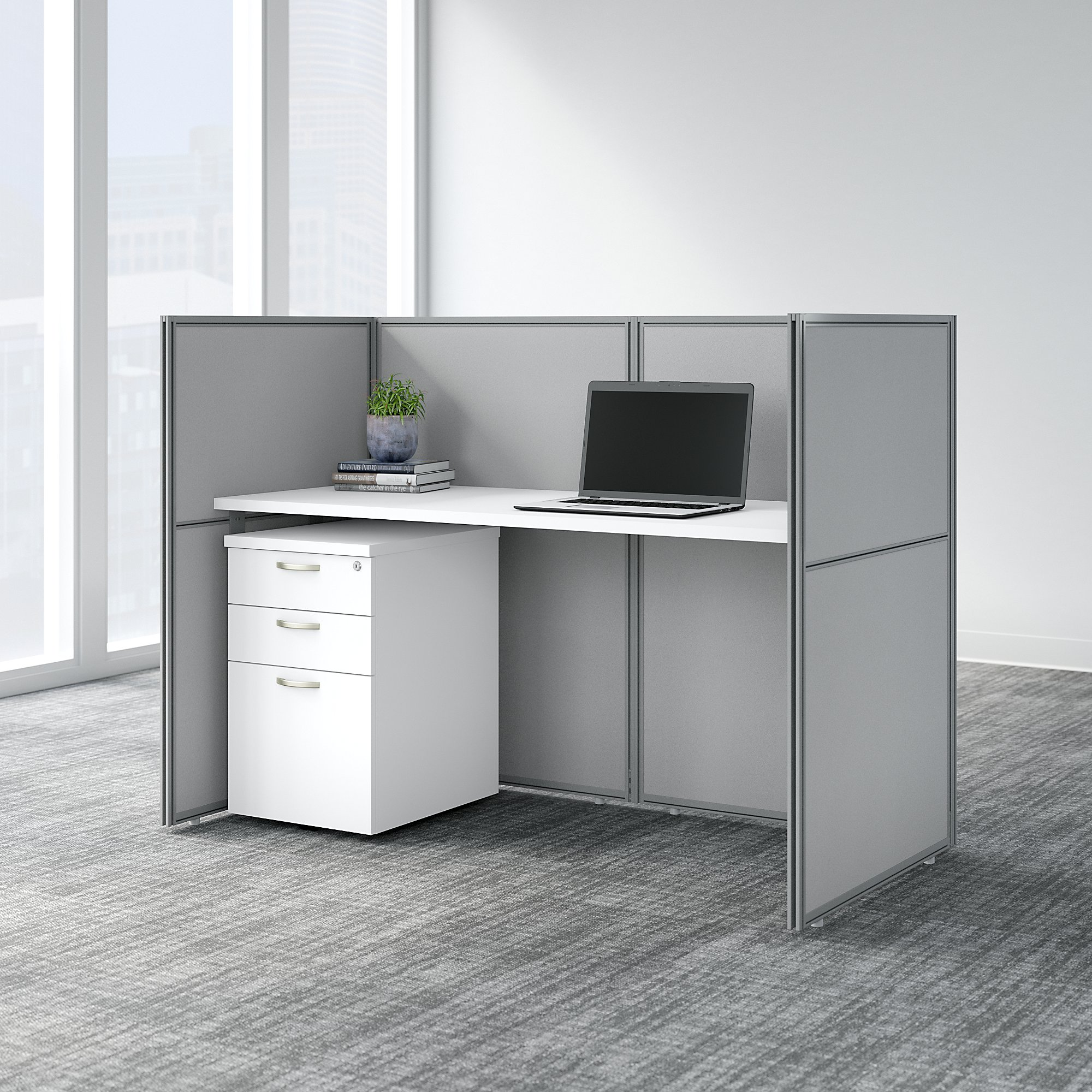 easy office single cubicle with pedestal