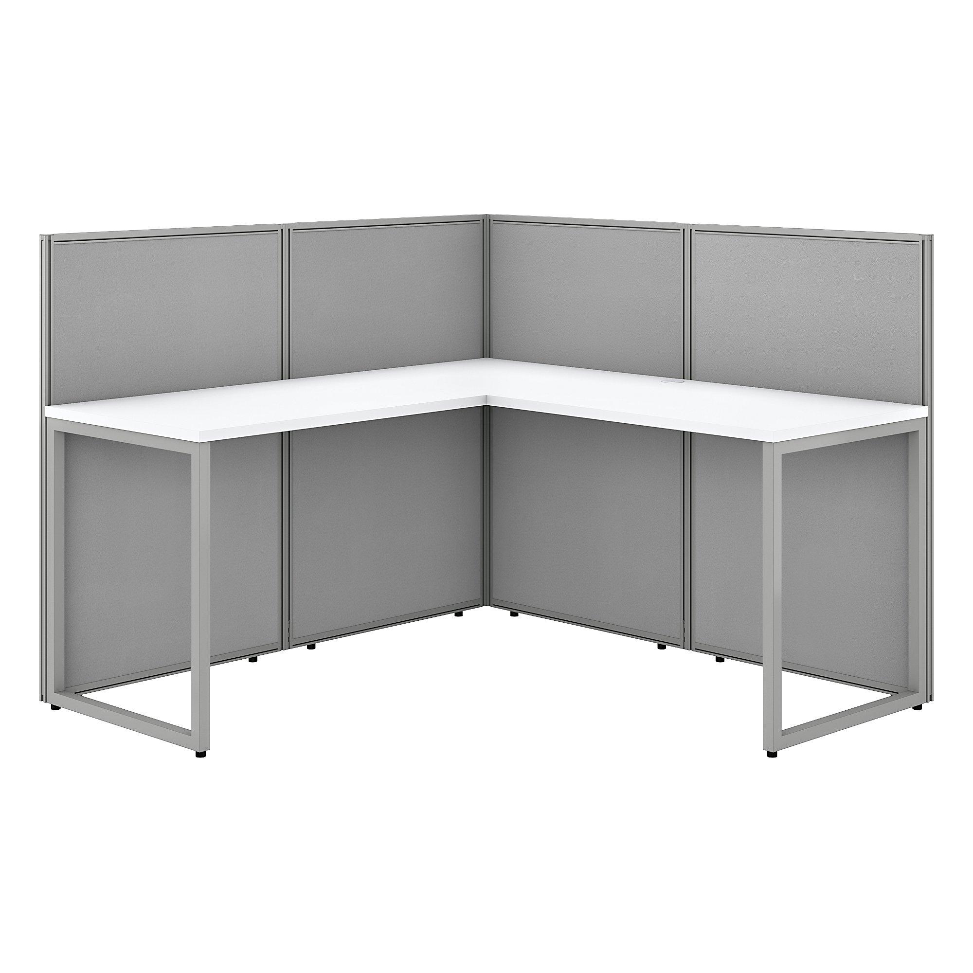 bush business furniture white l shaped cubicle