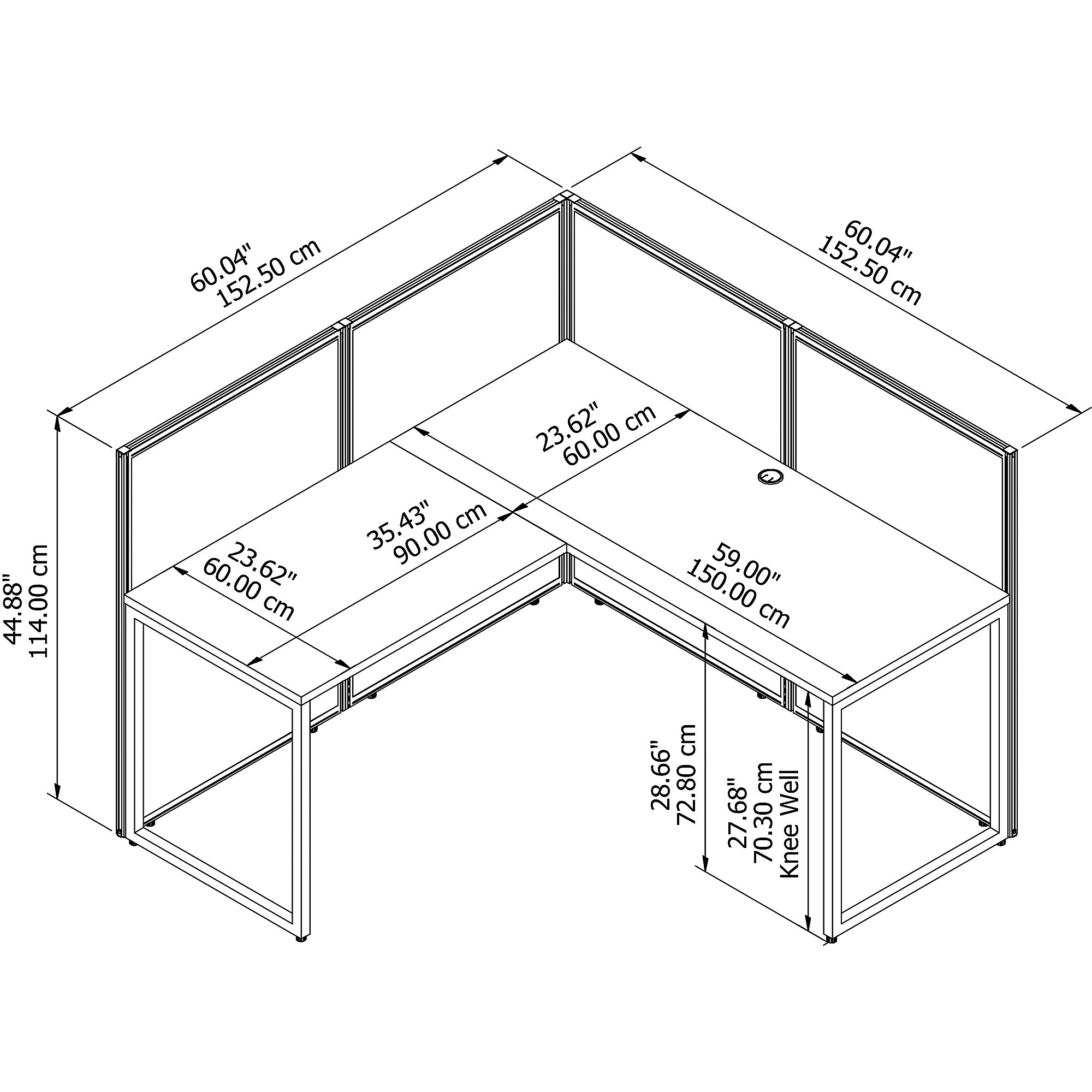 easy office l shaped cubicle dimensions