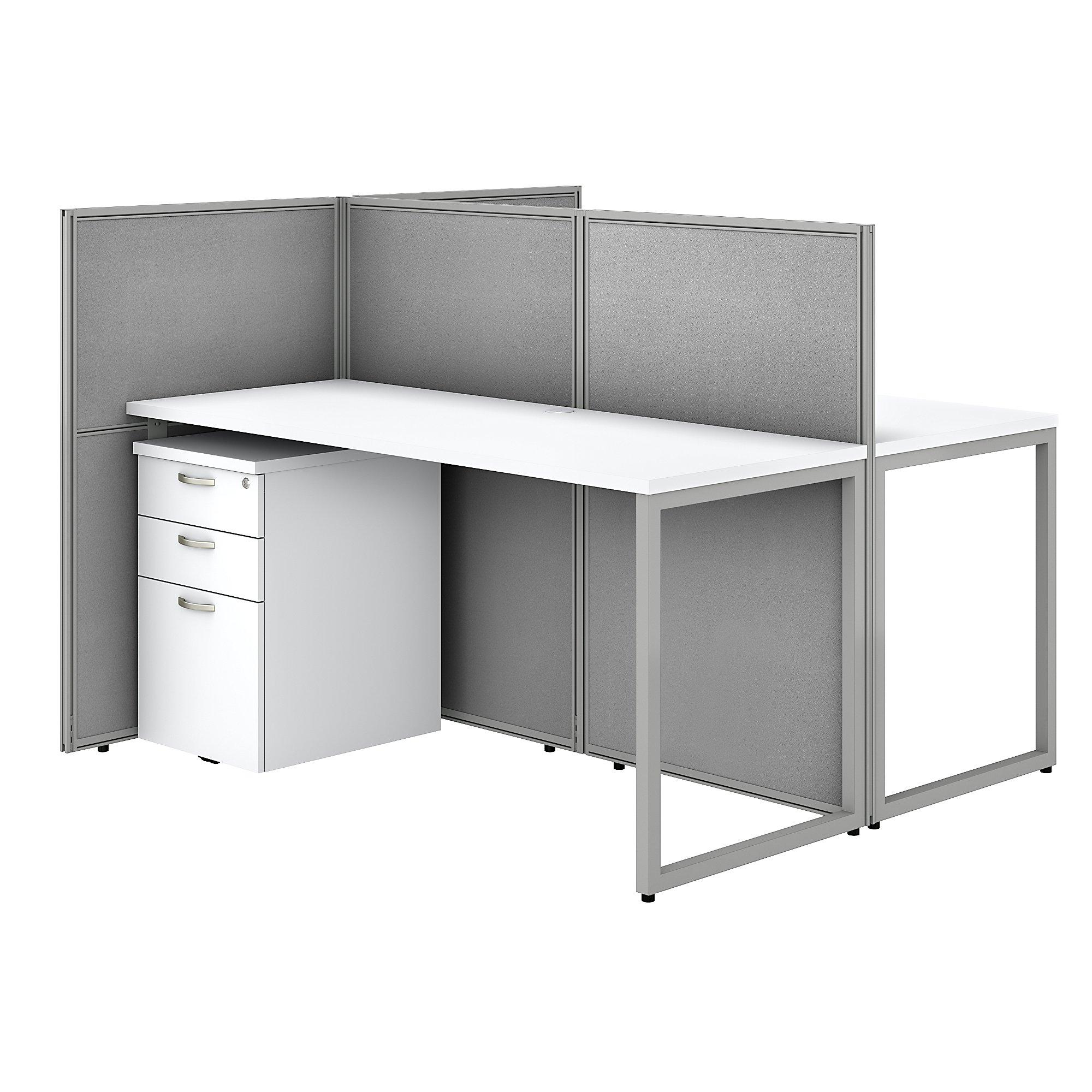 bush business furniture white 2 person cubicle