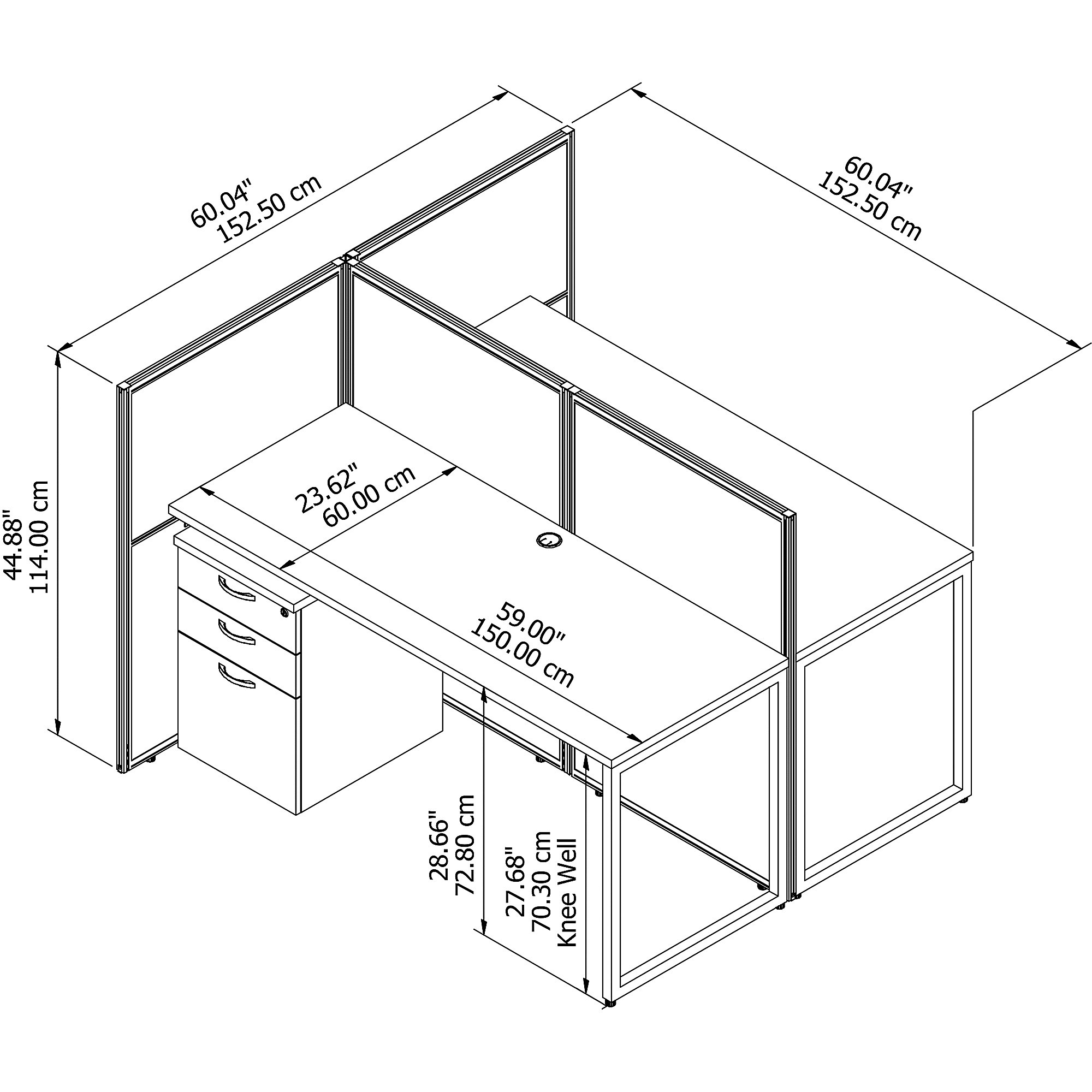 easy office white 2 person cubicle dimensions
