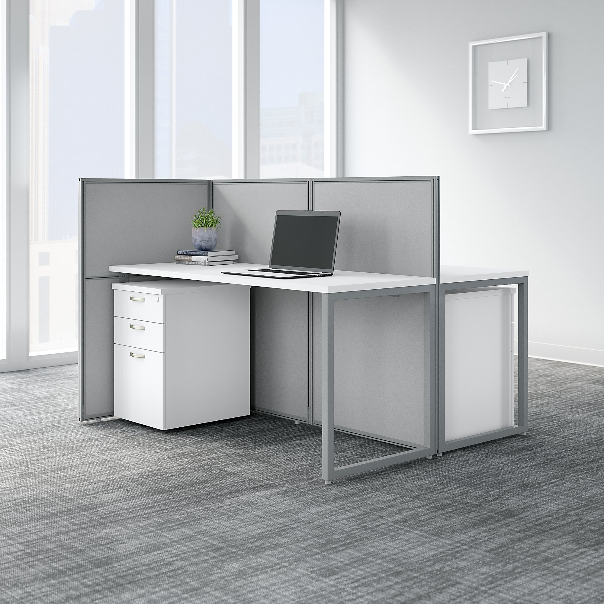 easy office white 2 person cubicle