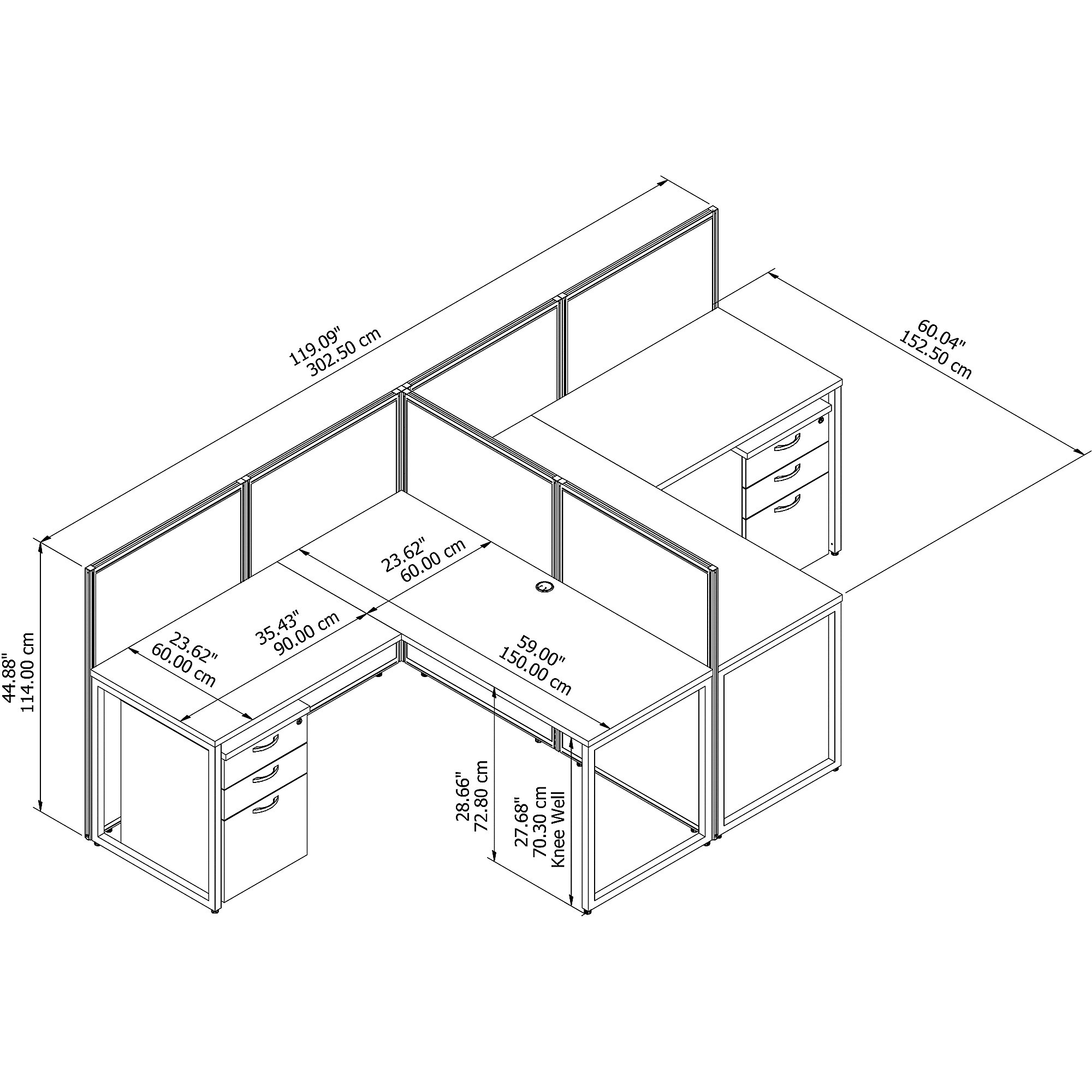 multi user easy office cubicle dimensions