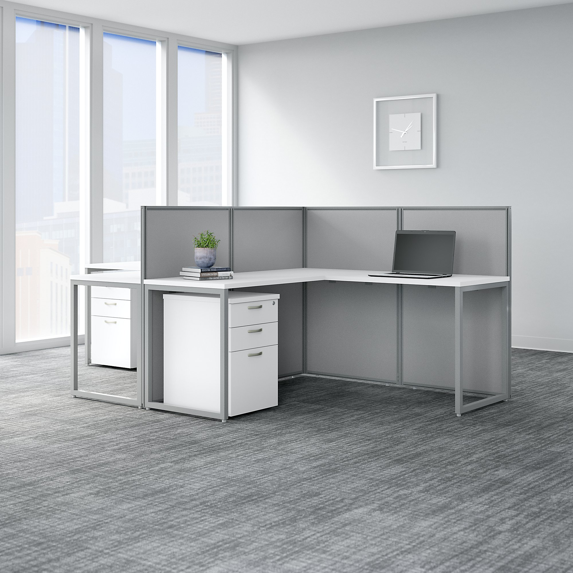 Bush Business Furniture Easy Office White 2 Person L Shaped Cubicle Desk With Drawers And 45h Panels