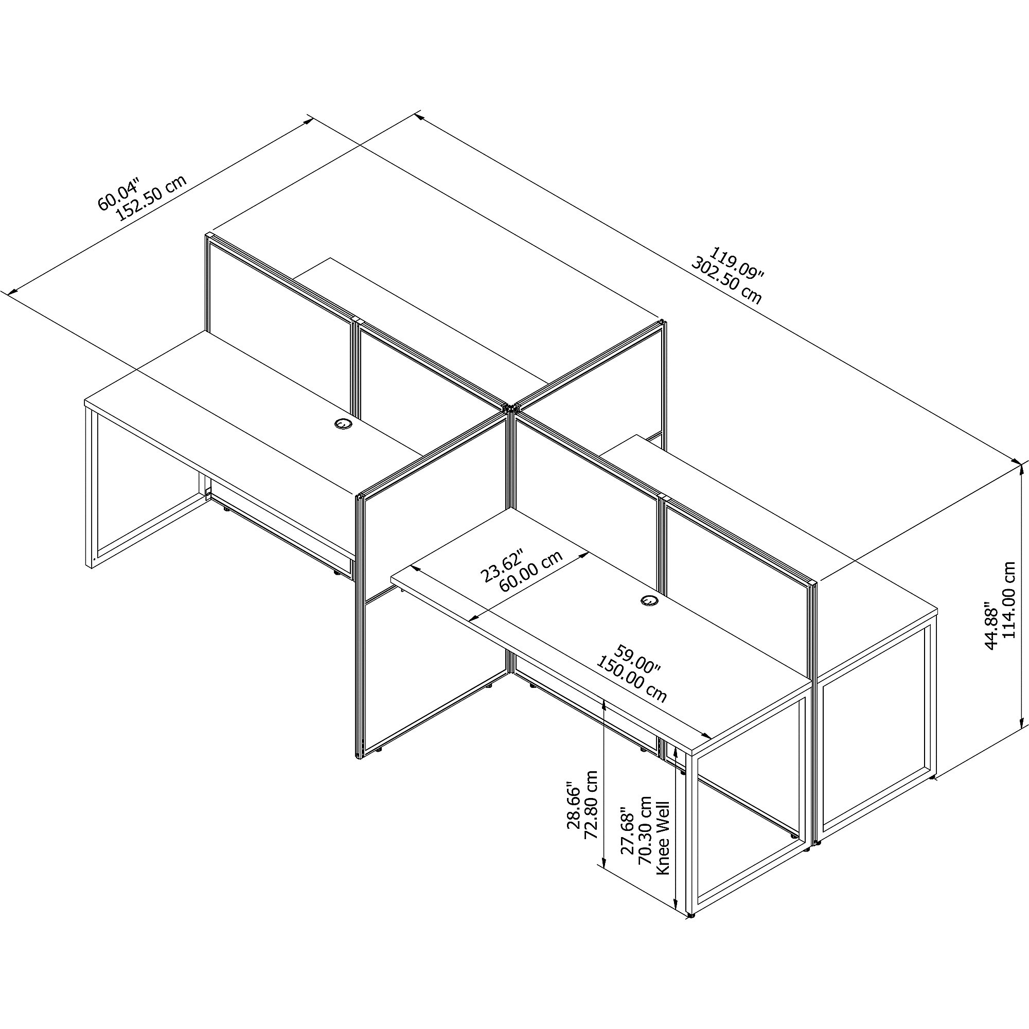 easy office 4 person cubicle dimensions
