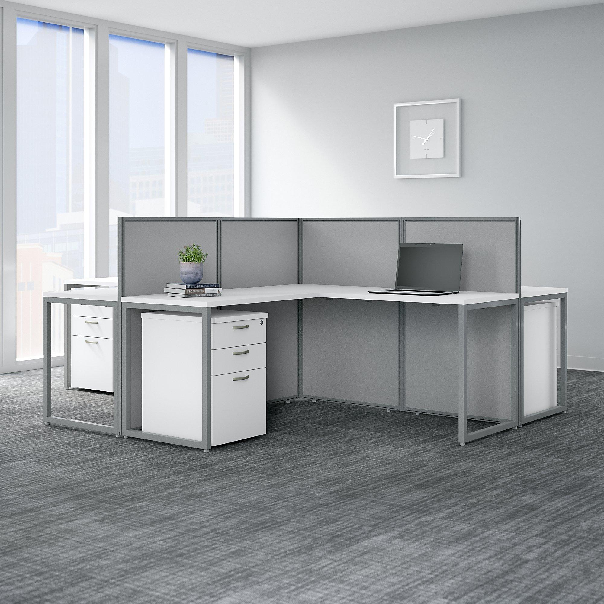 white 4 person modular cubicle configuration