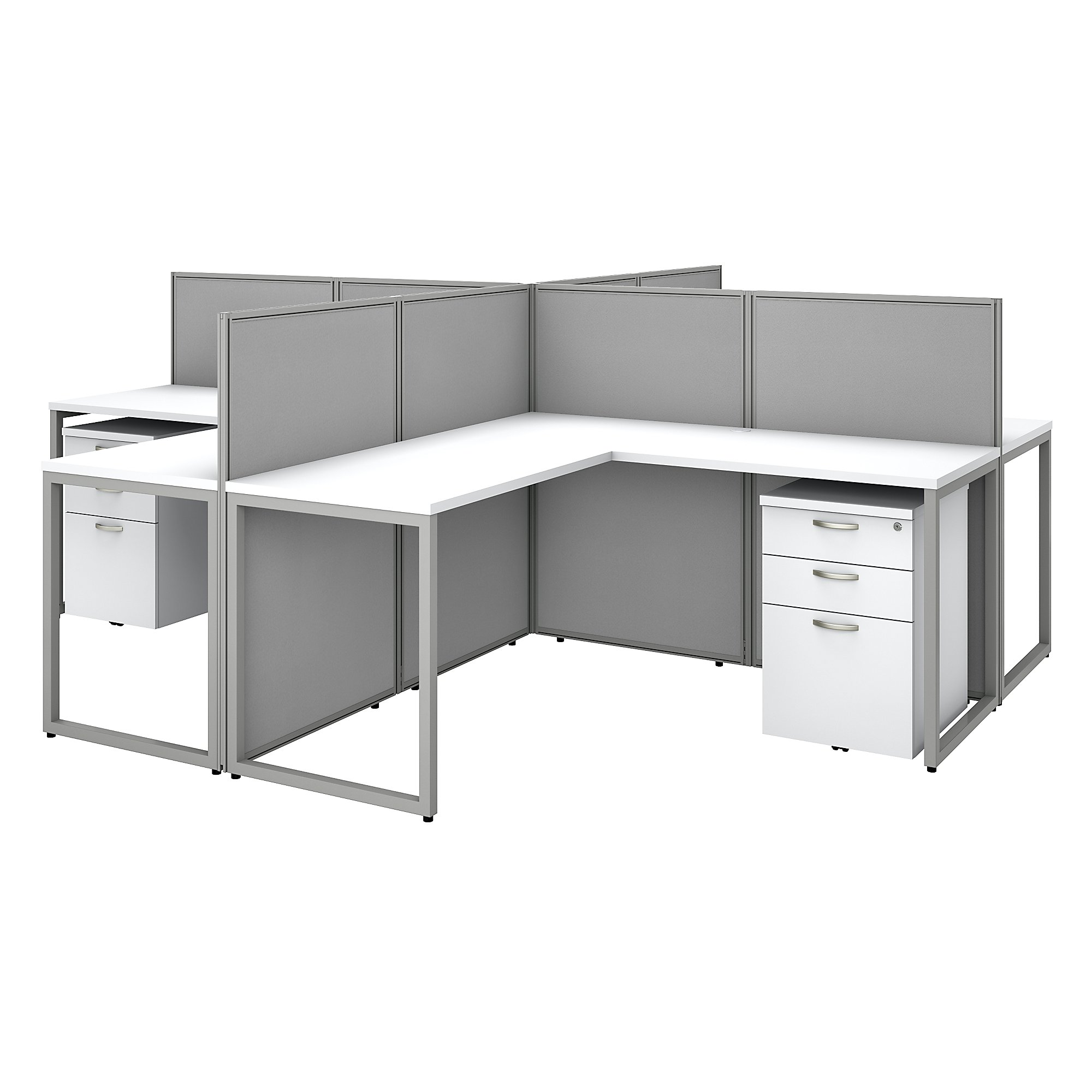 easy office 4 person modular cubicle configuration