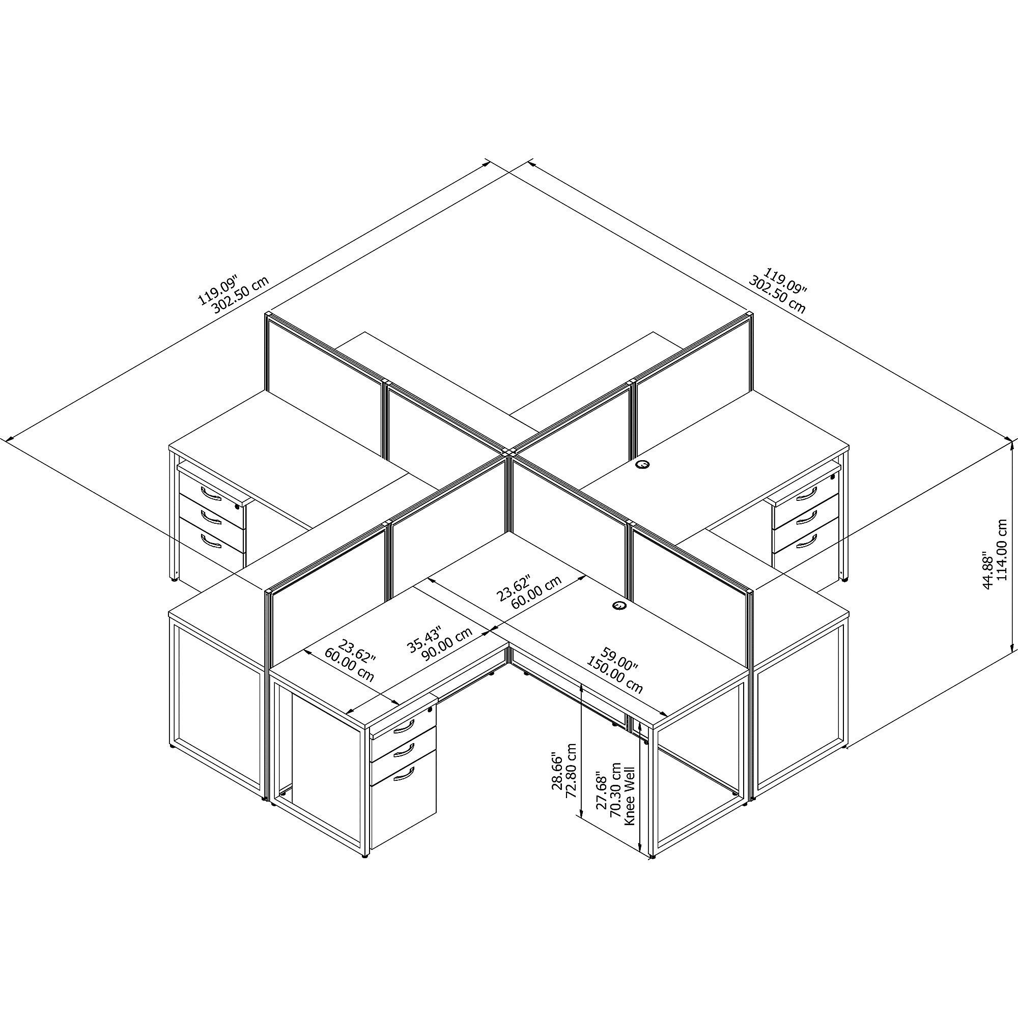 white 4 person modular cubicle configuration dimensions