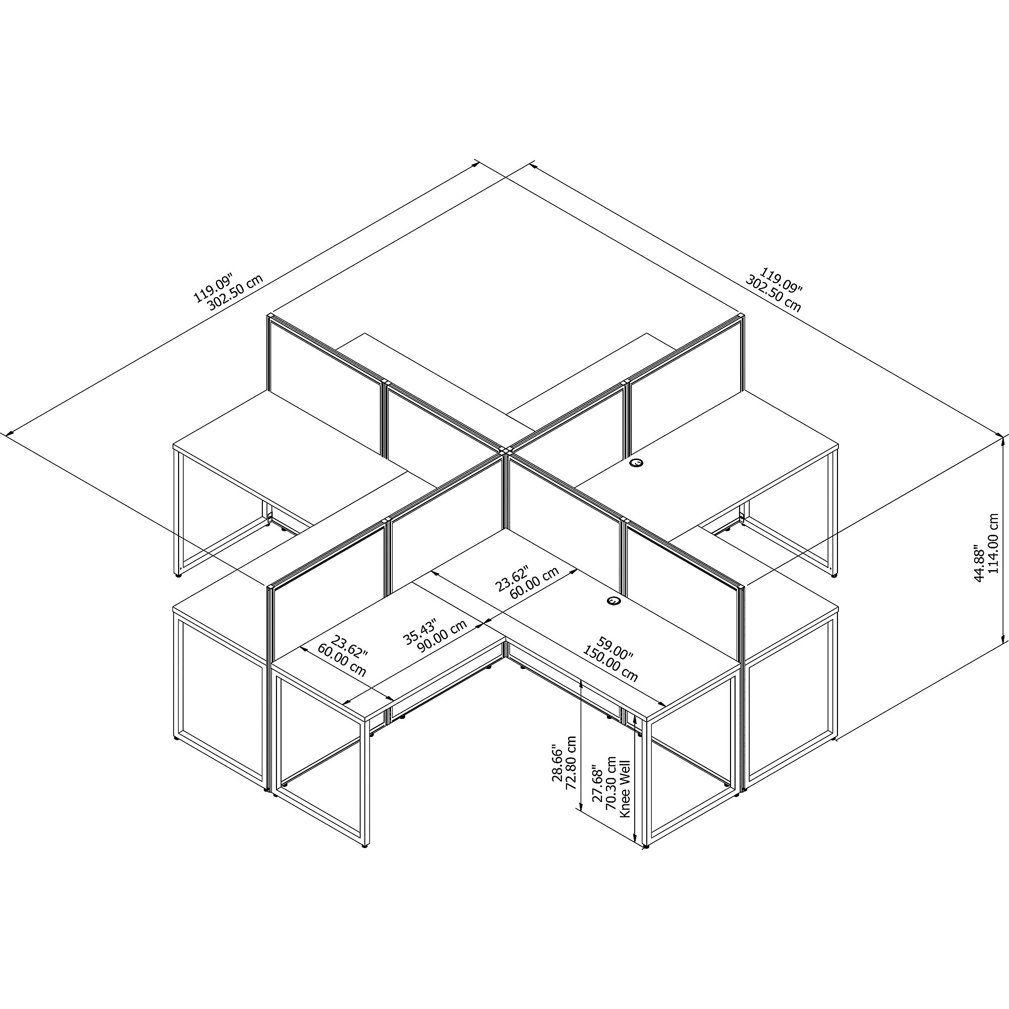 4 person cubicle configuration dimensions