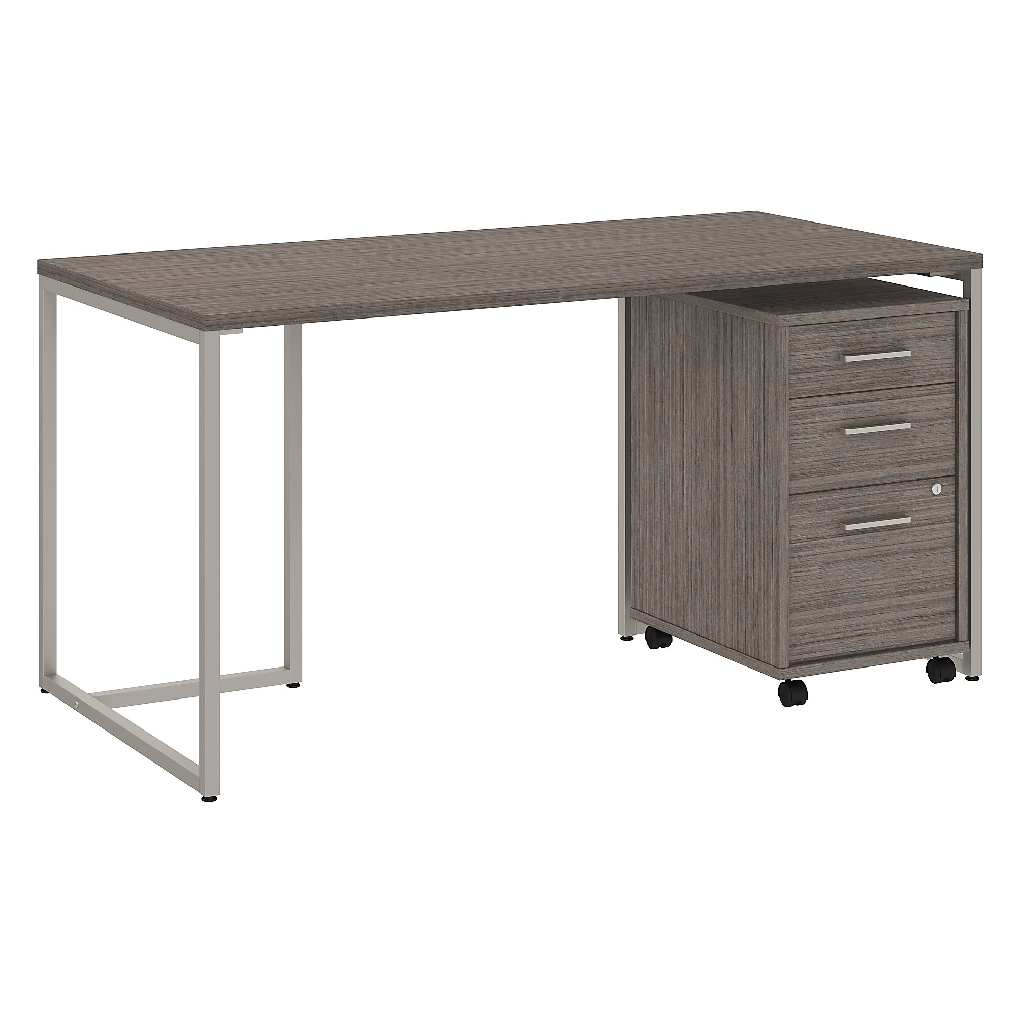method office desk with file pedestal in cocoa