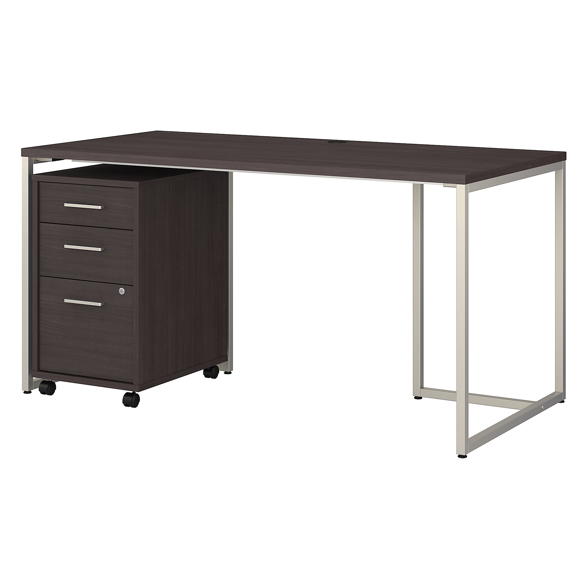 method office desk with file pedestal in storm gray