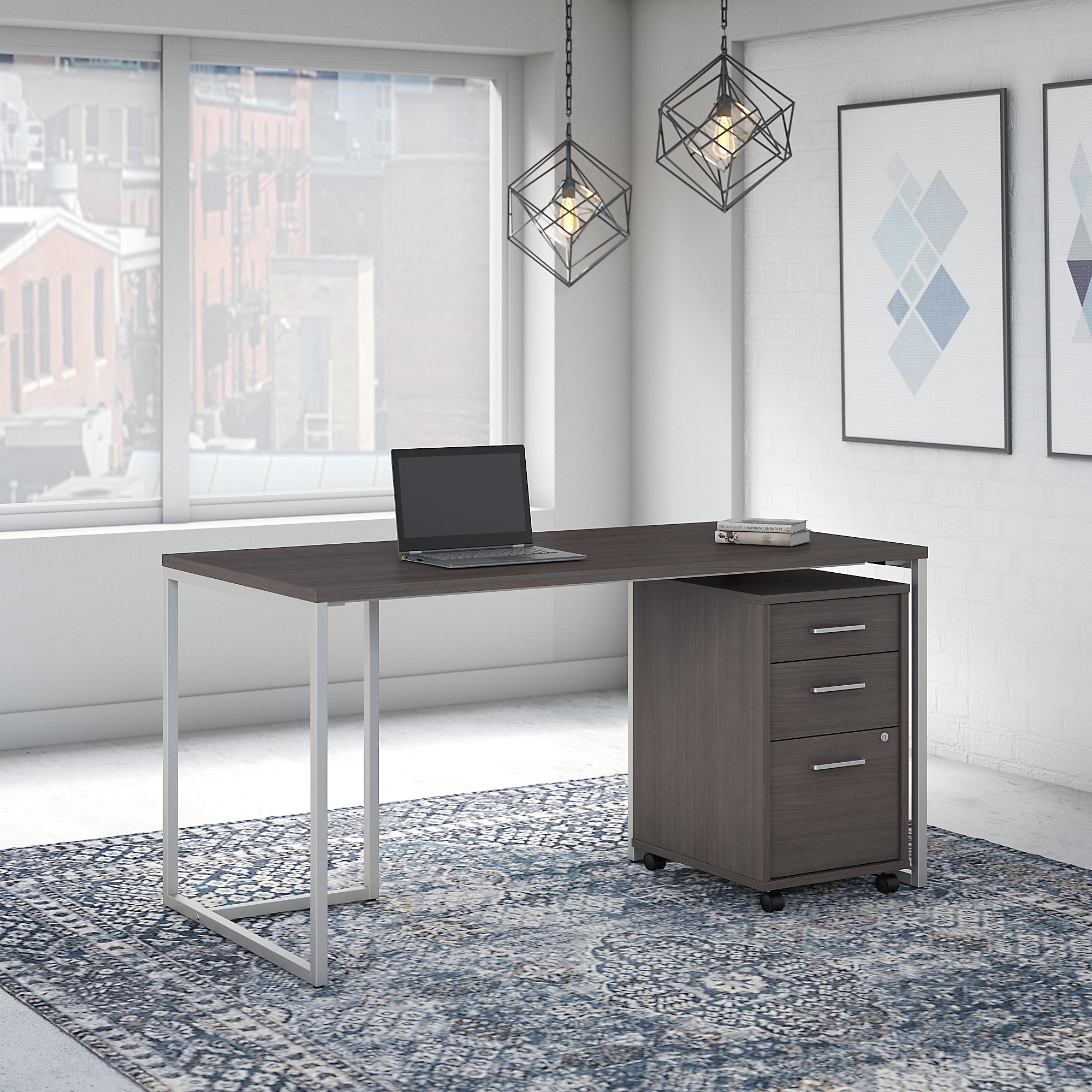 storm gray method office desk with file pedestal