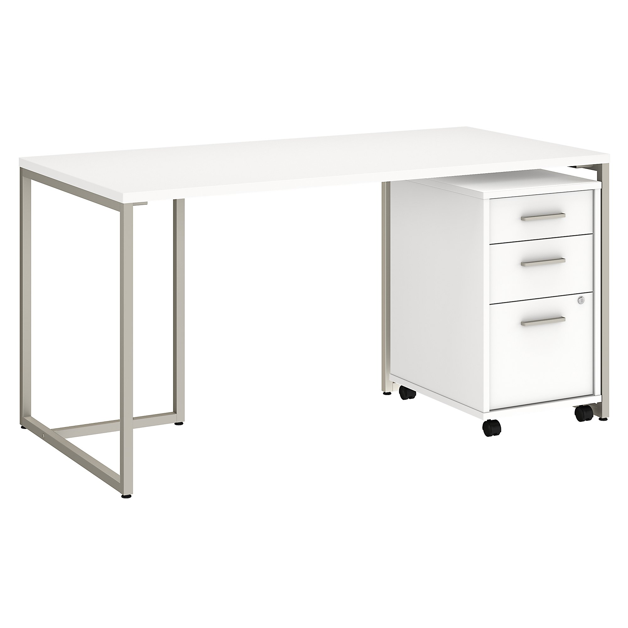 method office desk with file pedestal in white