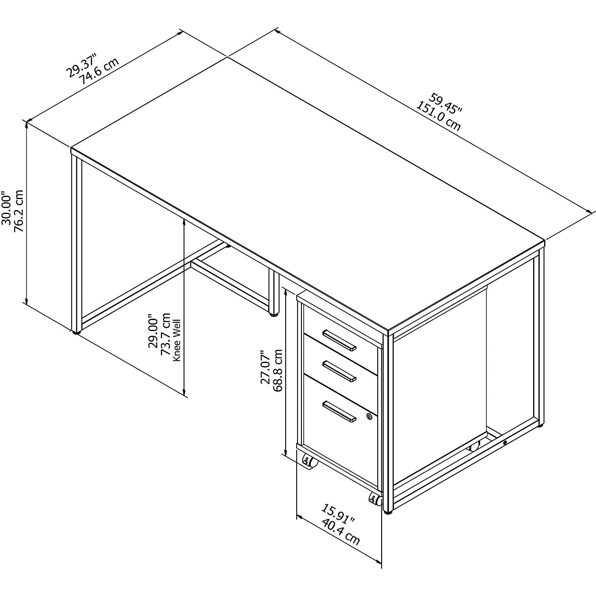 method desk dimensions