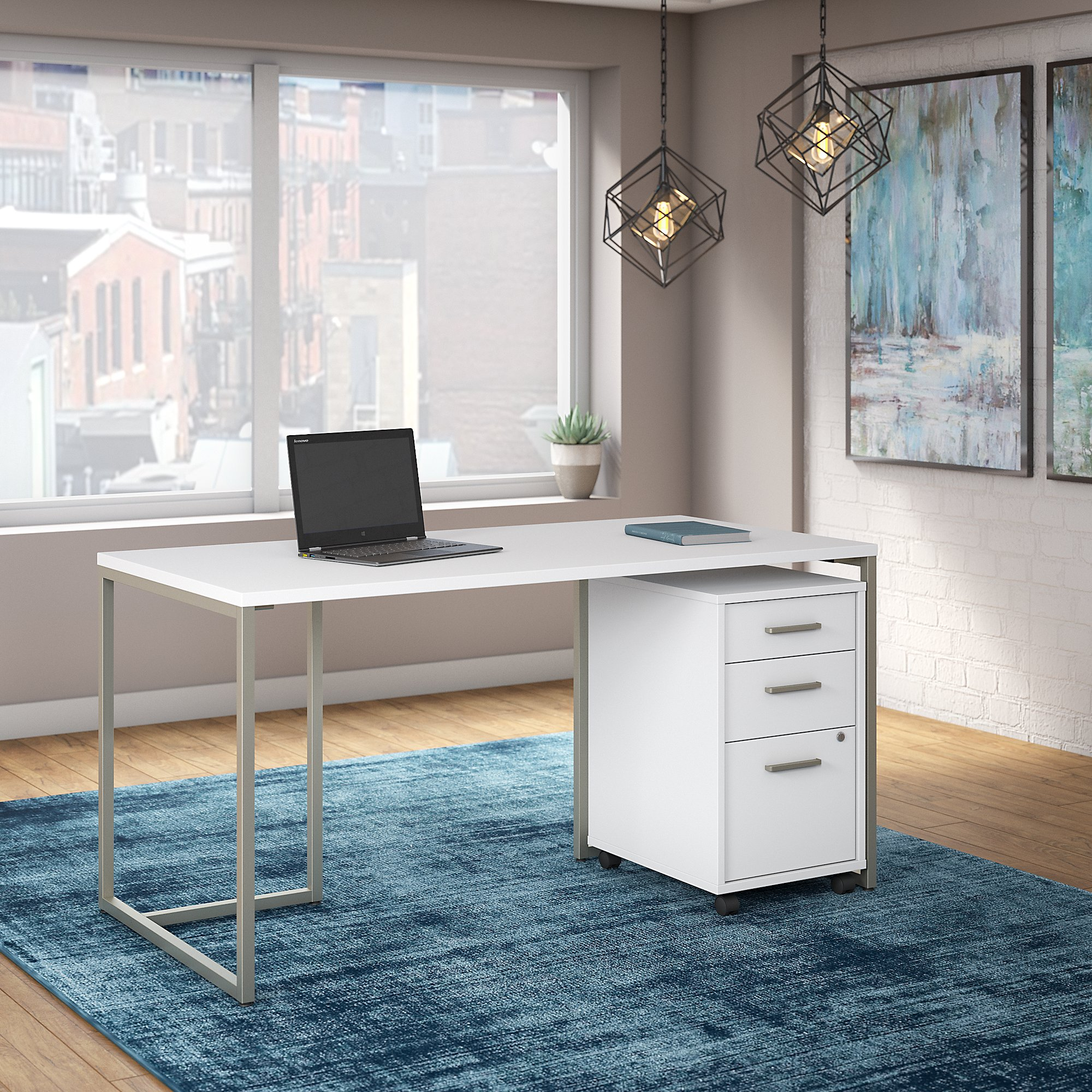 white method office desk with file pedestal