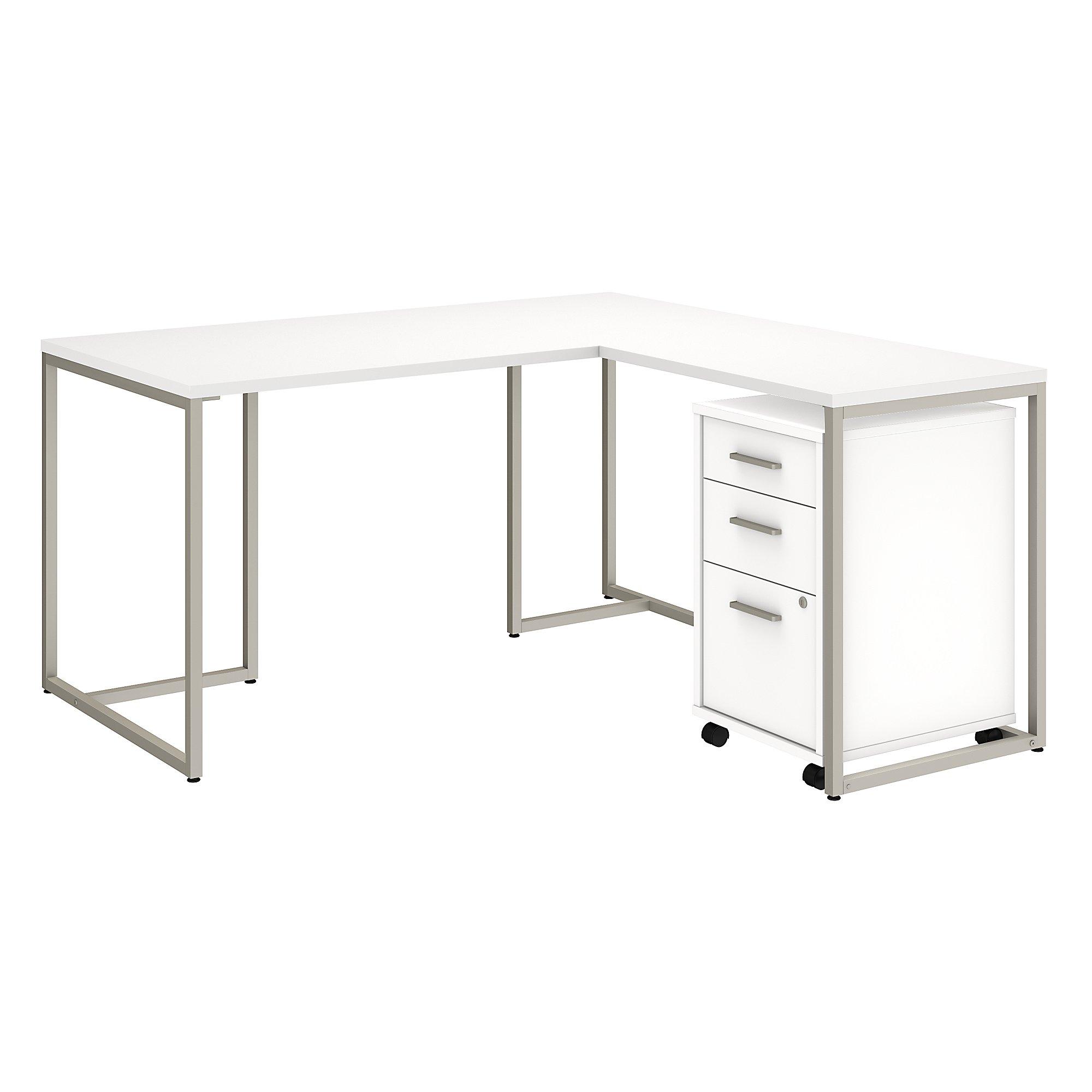 method l desk with storage in white