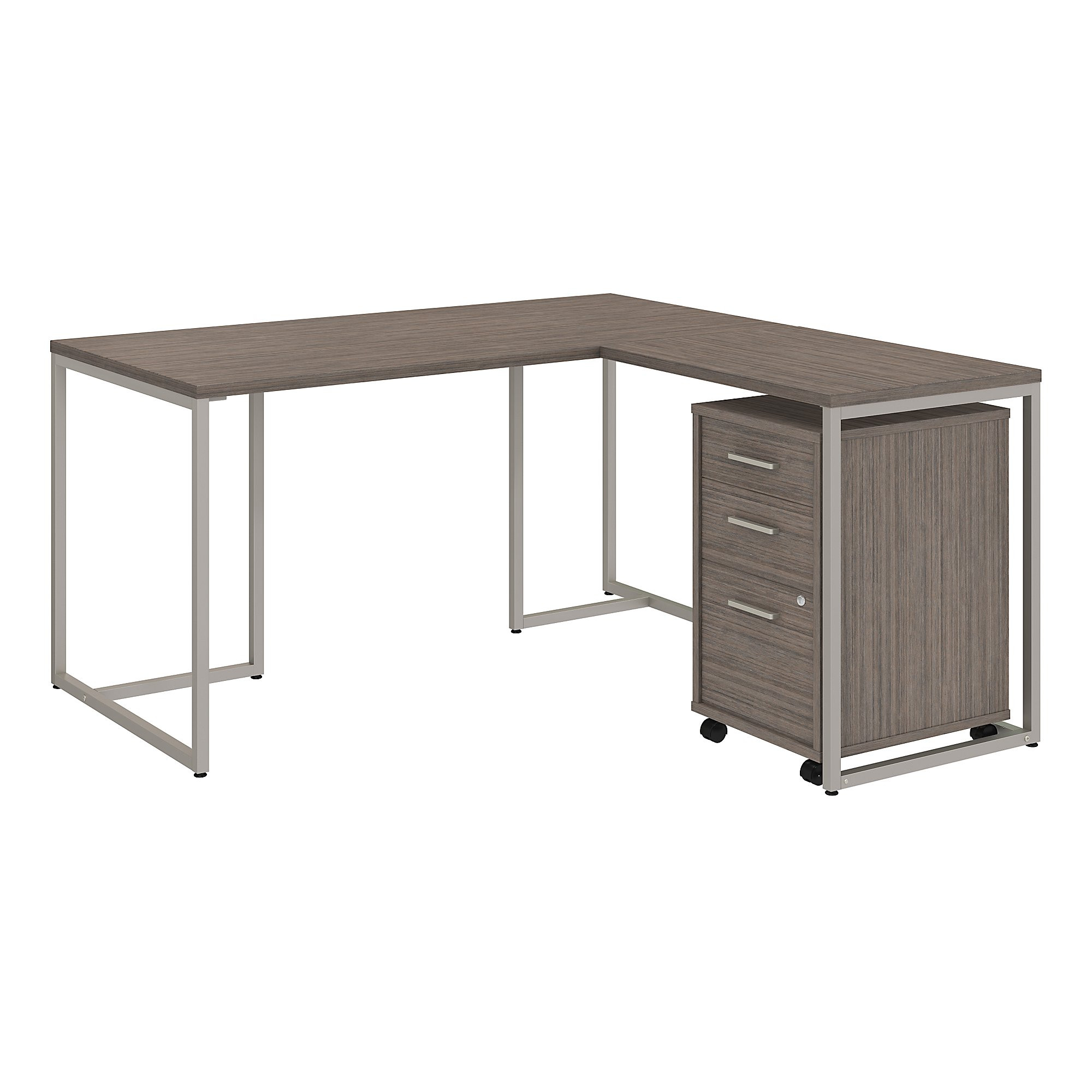 method l desk with storage in cocoa