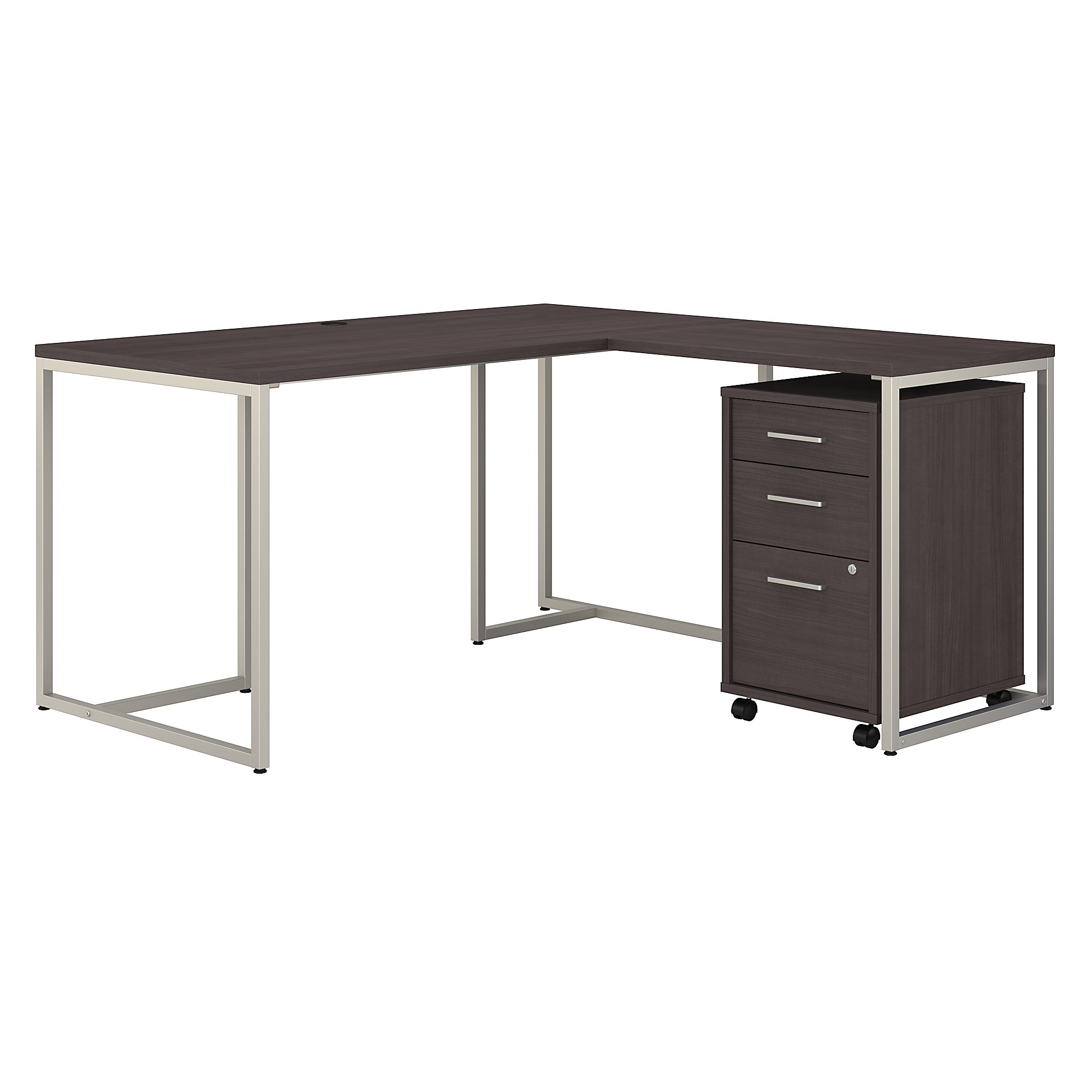 method l desk with storage in storm gray