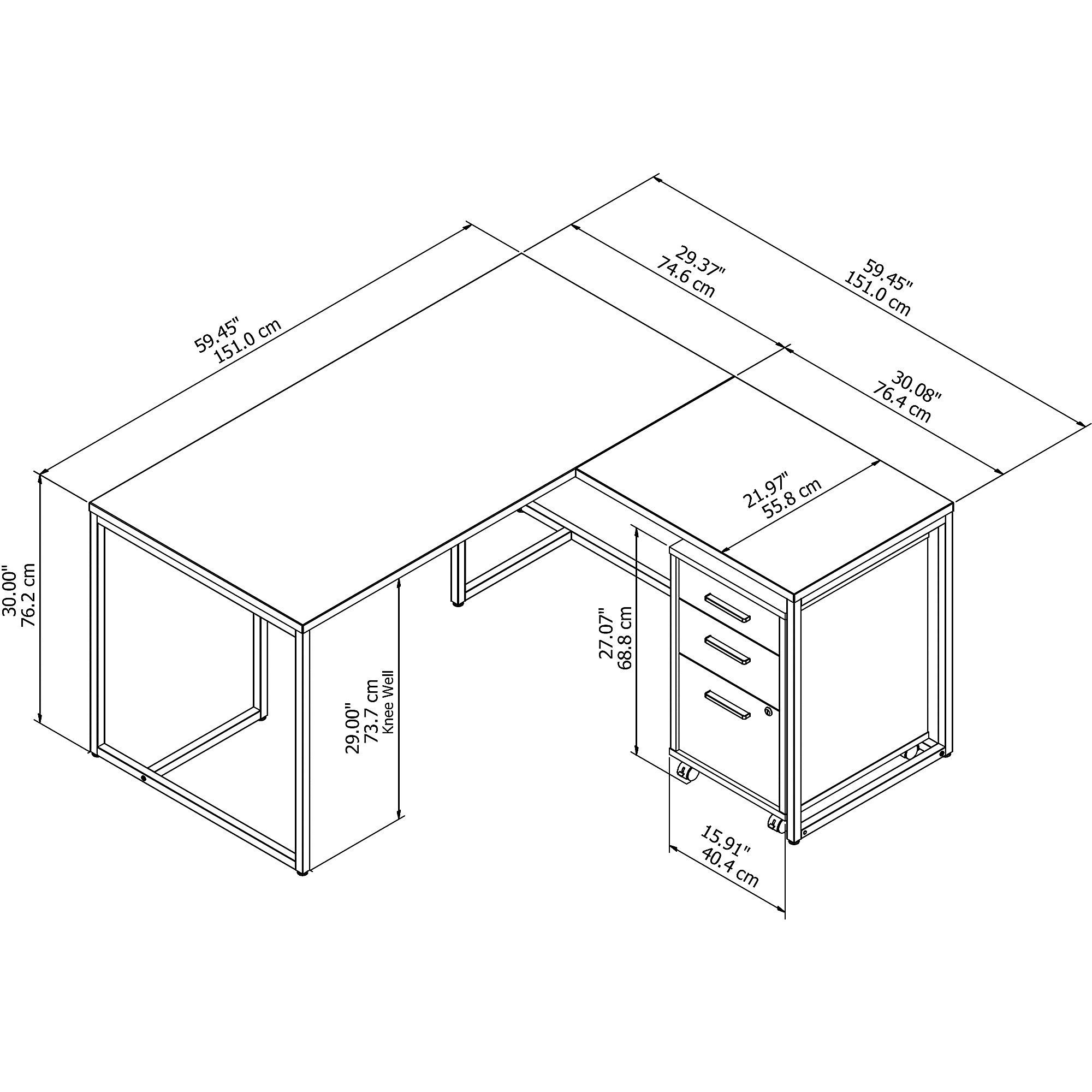 method l desk with storage dimensions