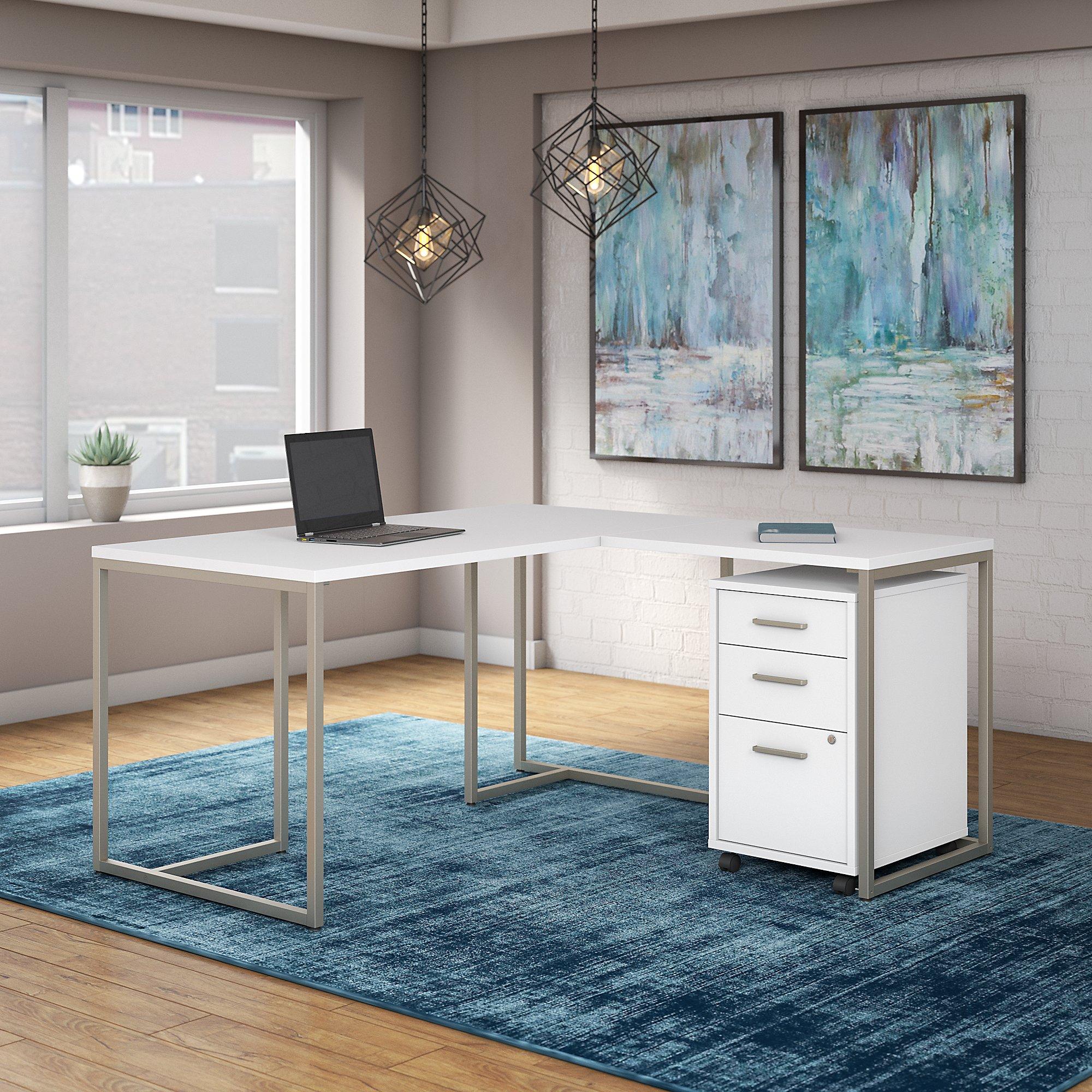 white method l desk with storage