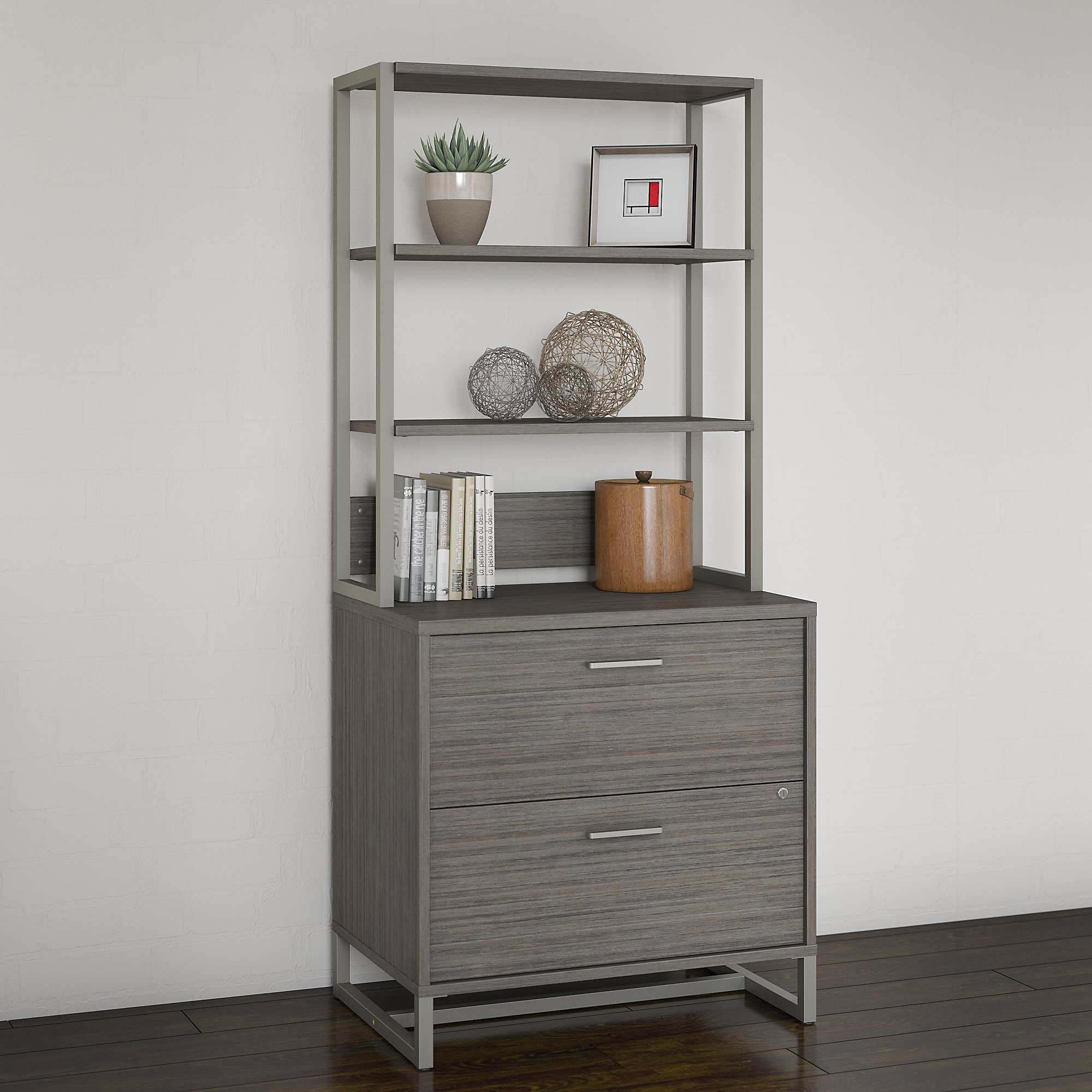 office by kathy ireland wall cabinet in cocoa