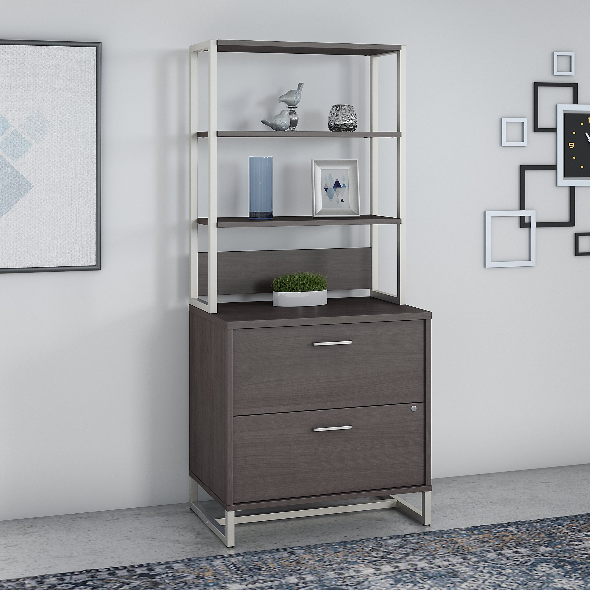 office by kathy ireland wall cabinet in storm gray