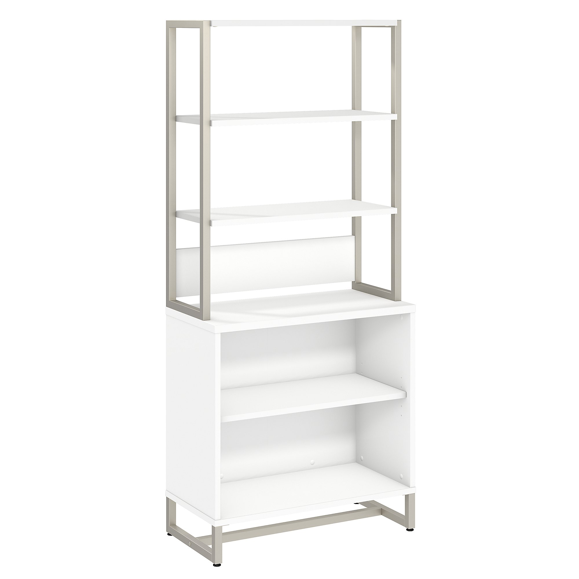 method open bookcase with hutch in white