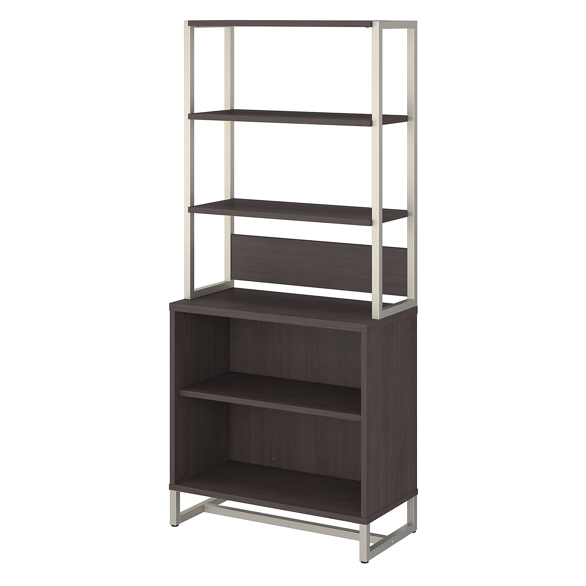 method open bookcase with hutch in storm gray