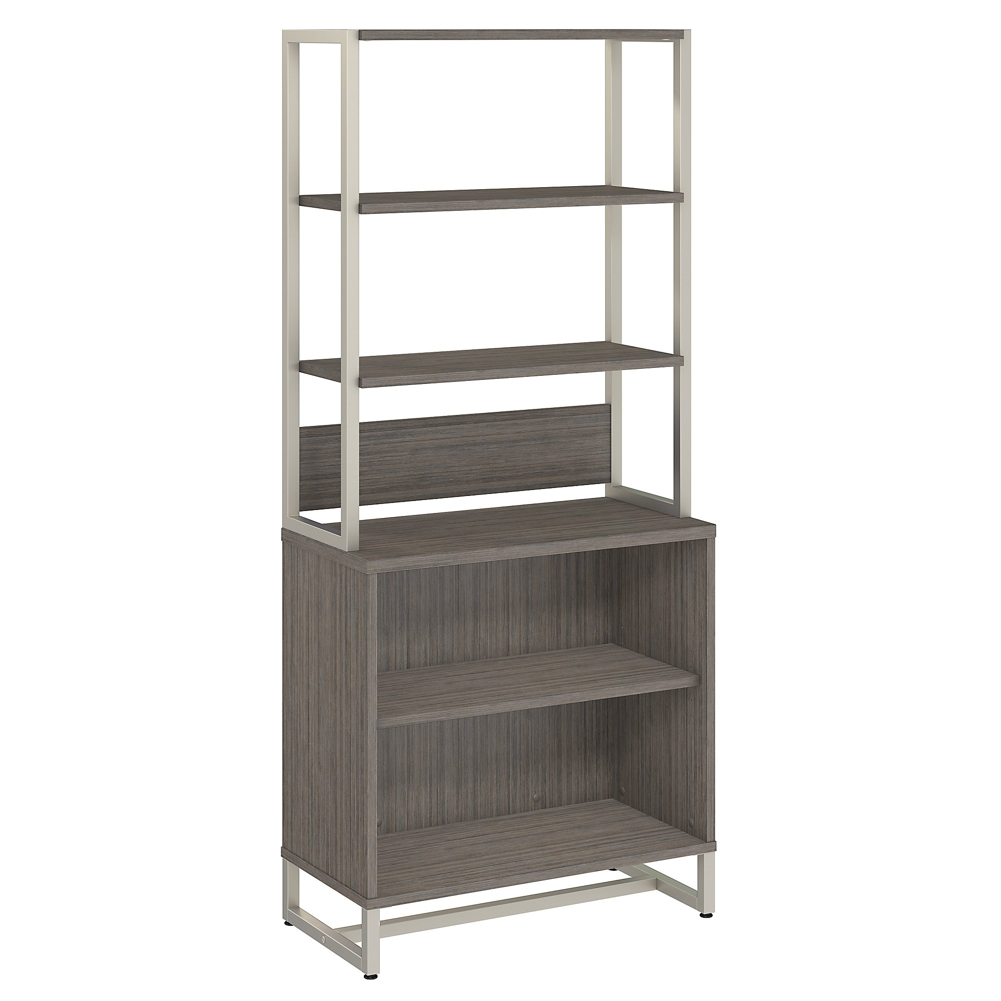 method open bookcase with hutch in cocoa