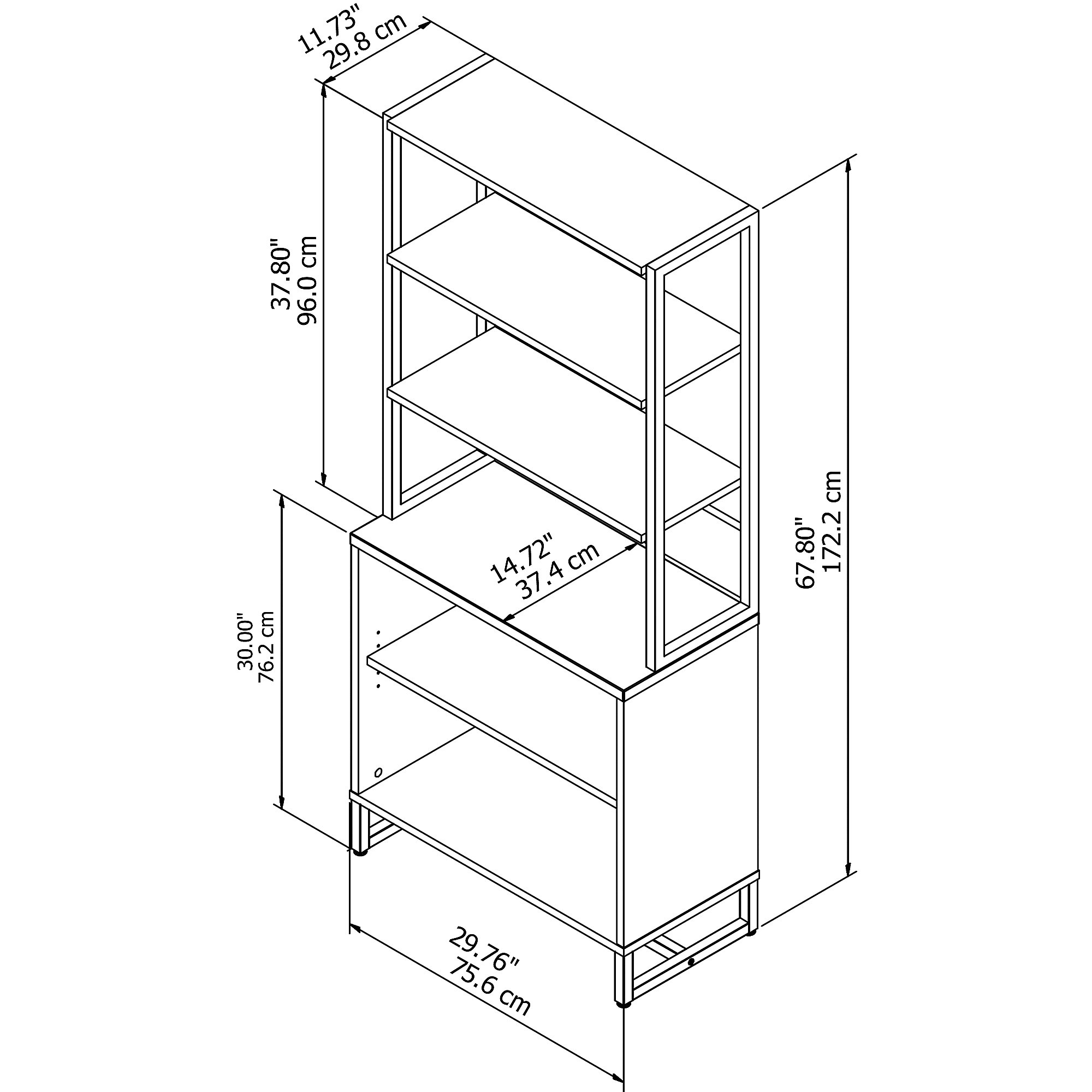 method open bookcase with hutch dimensions