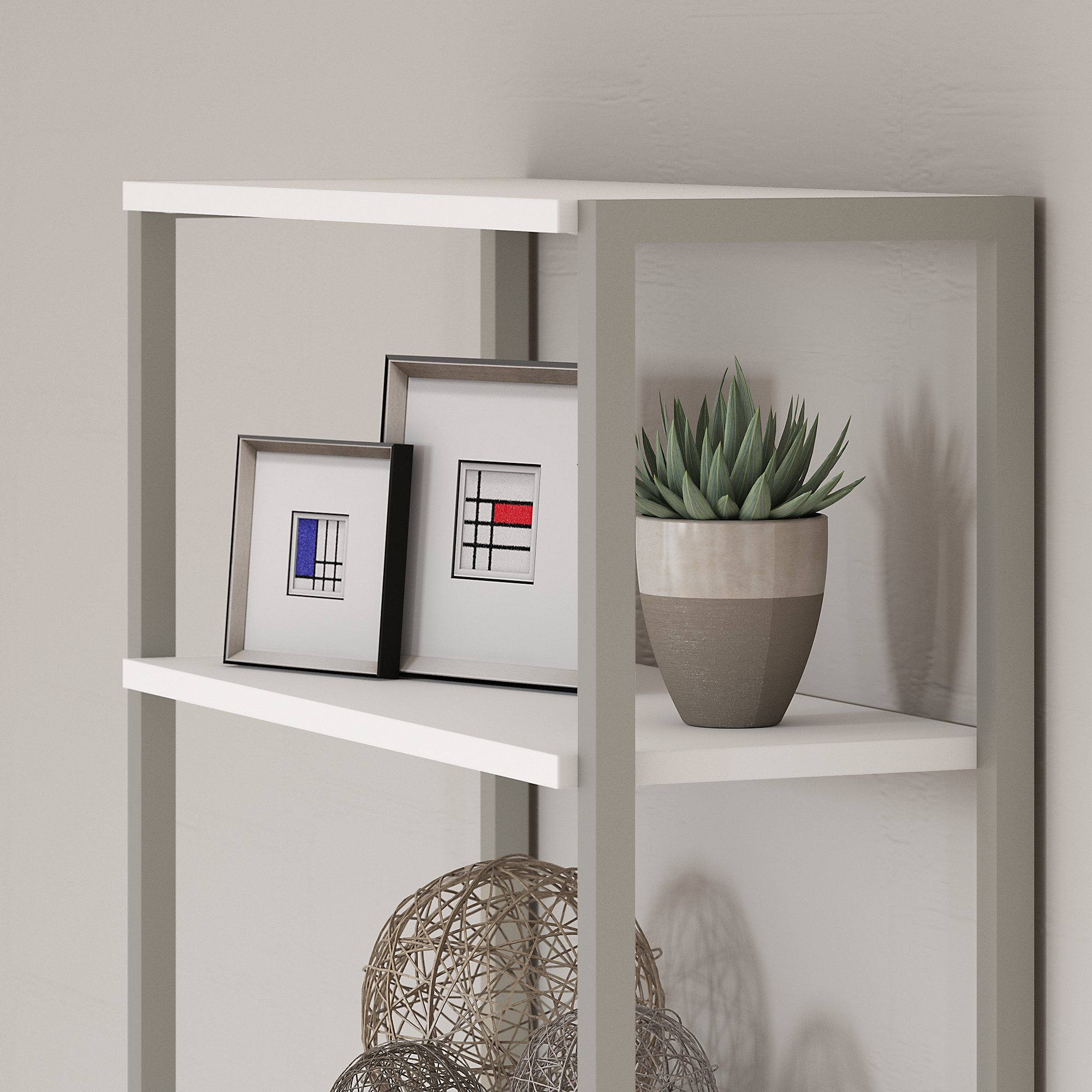 method open bookcase with hutch feature