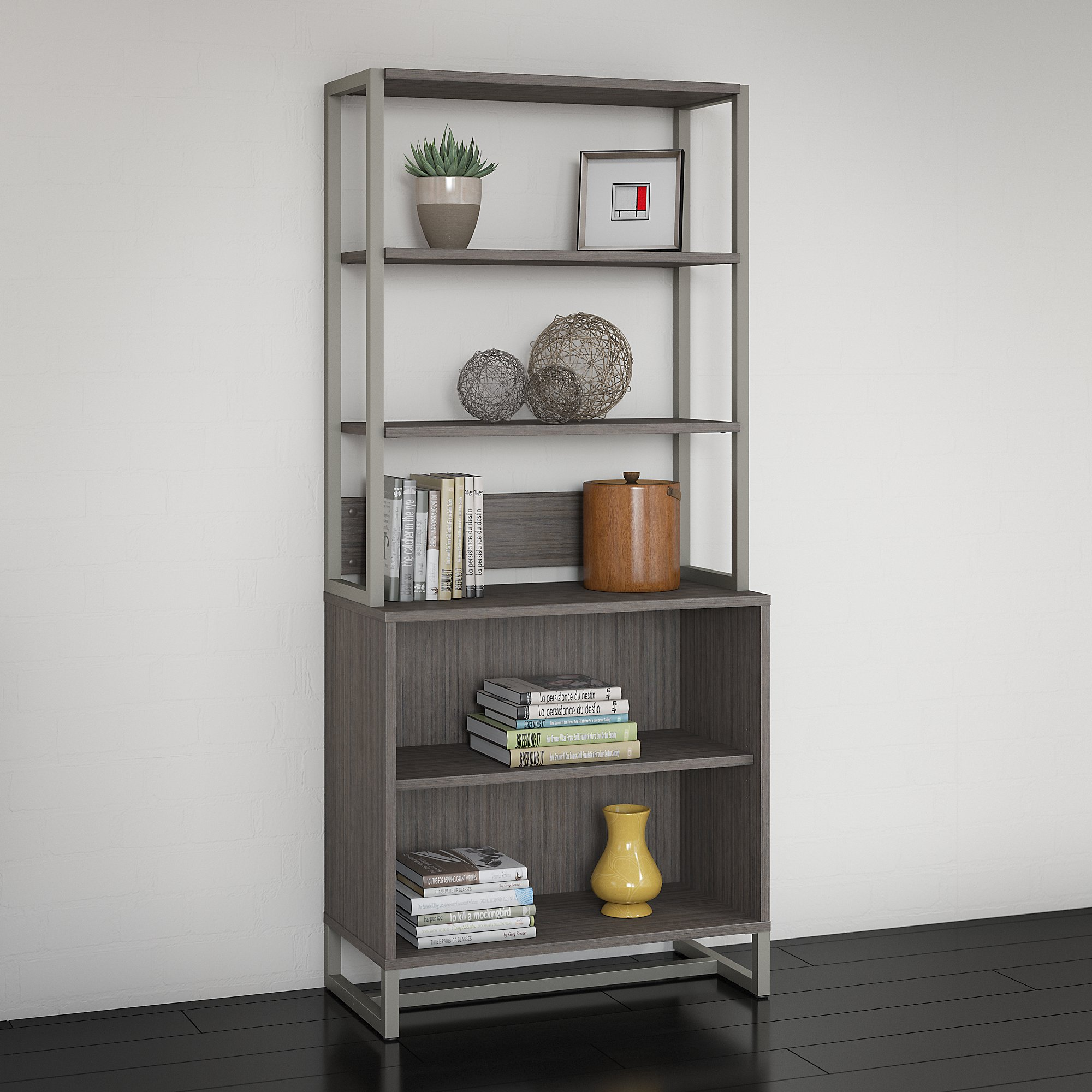 cocoa finished method open bookcase with hutch