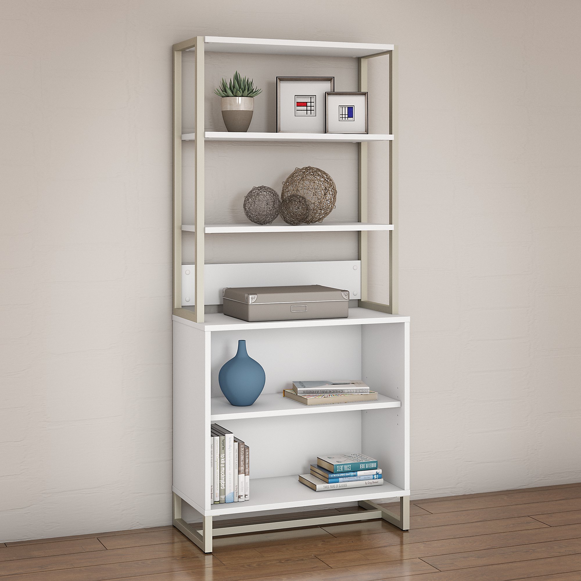 white method open bookcase with hutch