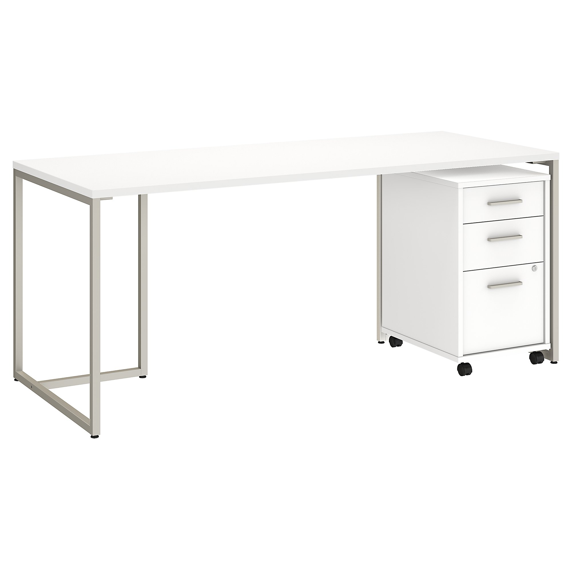 """method 72"""" writing desk with file pedestal in white"""