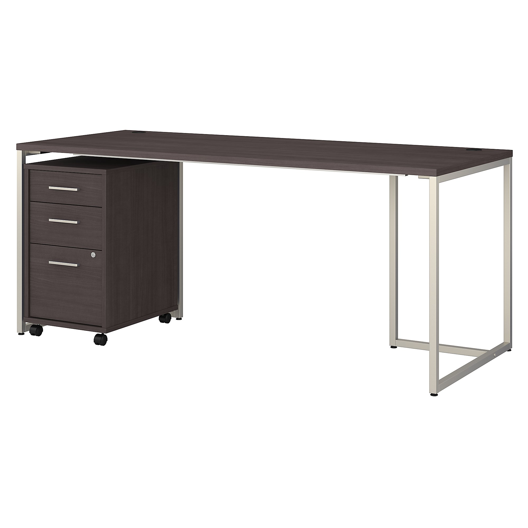 """method 72"""" writing desk with file pedestal in storm gray"""
