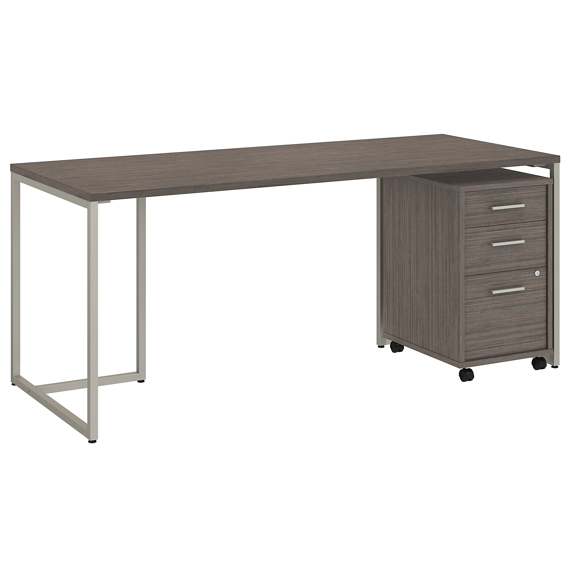 """method 72"""" writing desk with file pedestal in cocoa"""