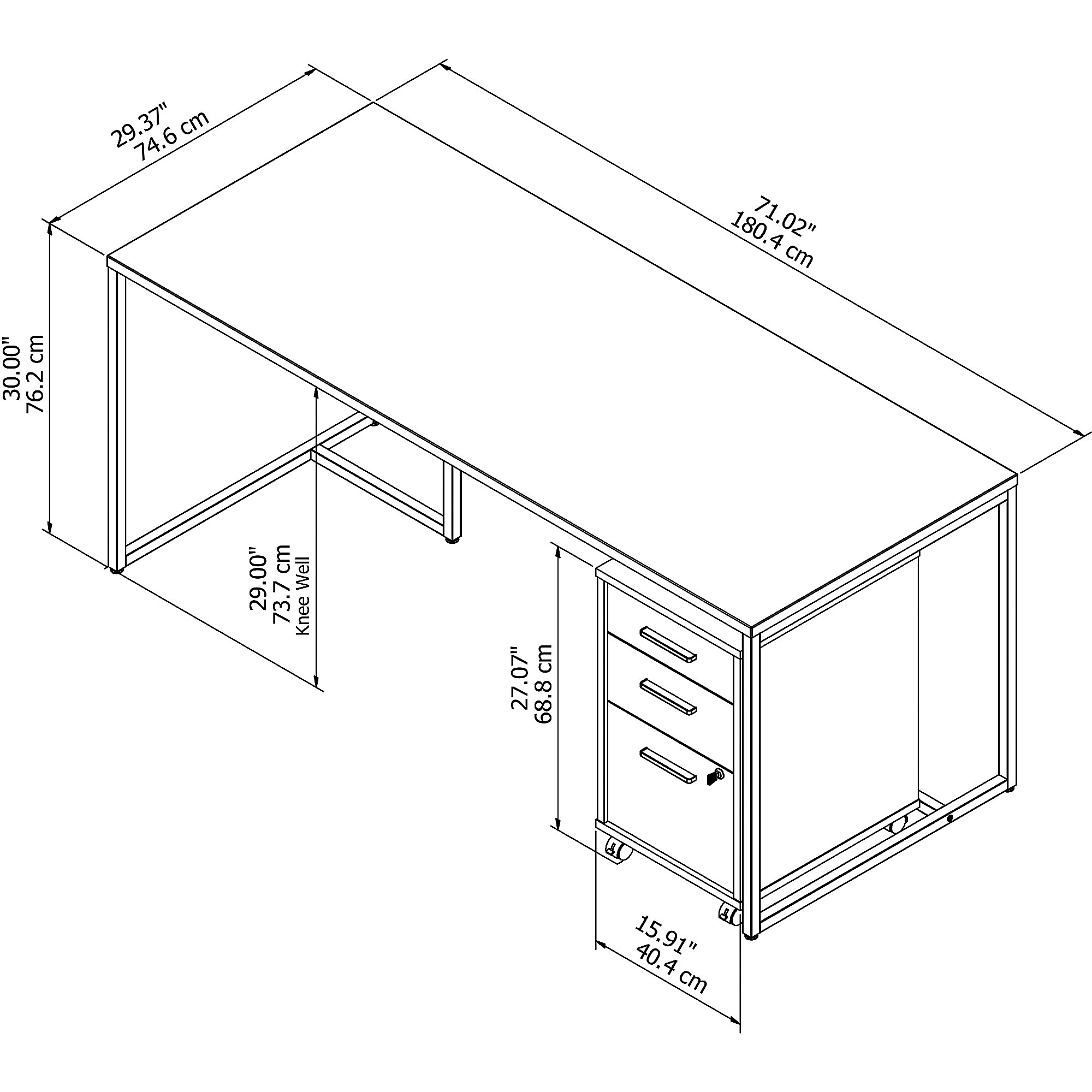 method writing desk with file pedestal dimensions