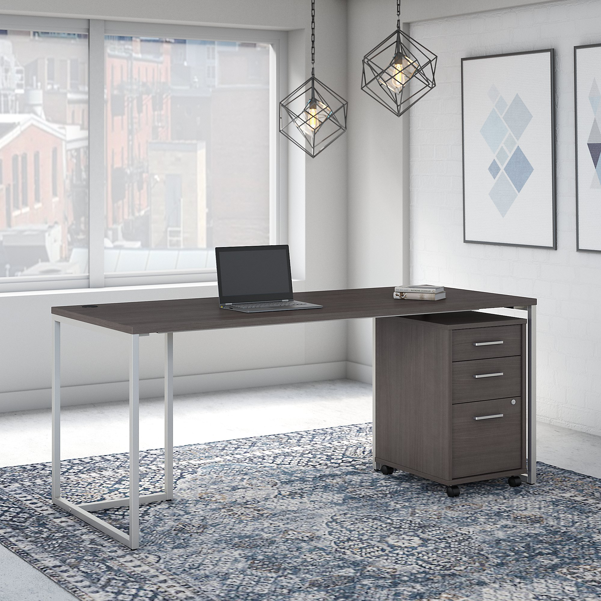 """storm gray method 72"""" writing desk with file pedestal"""