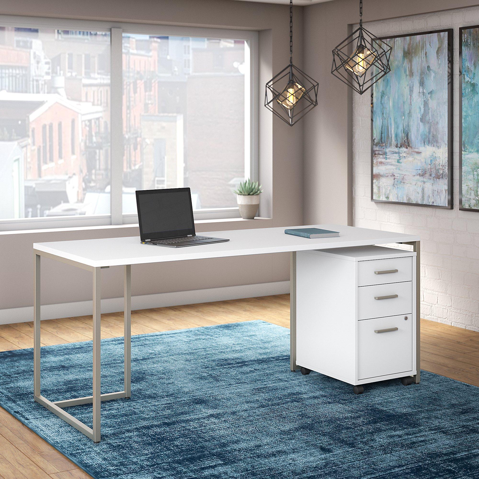 "white method 72"" writing desk with file pedestal"