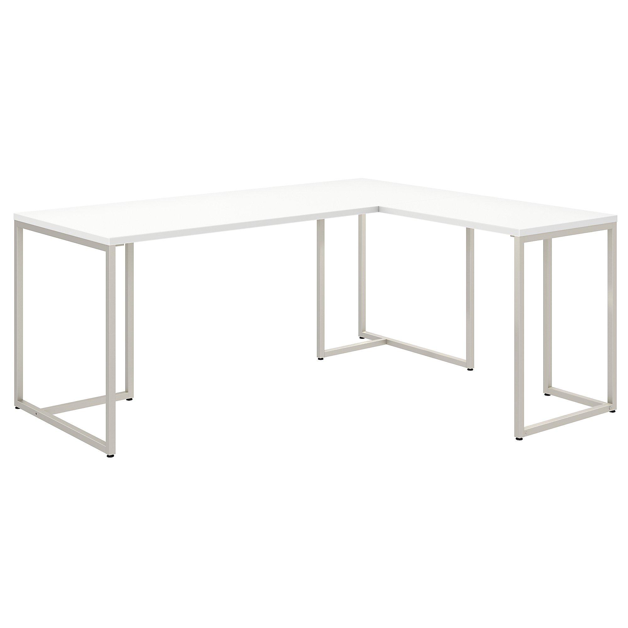 reversible l shaped method desk in white