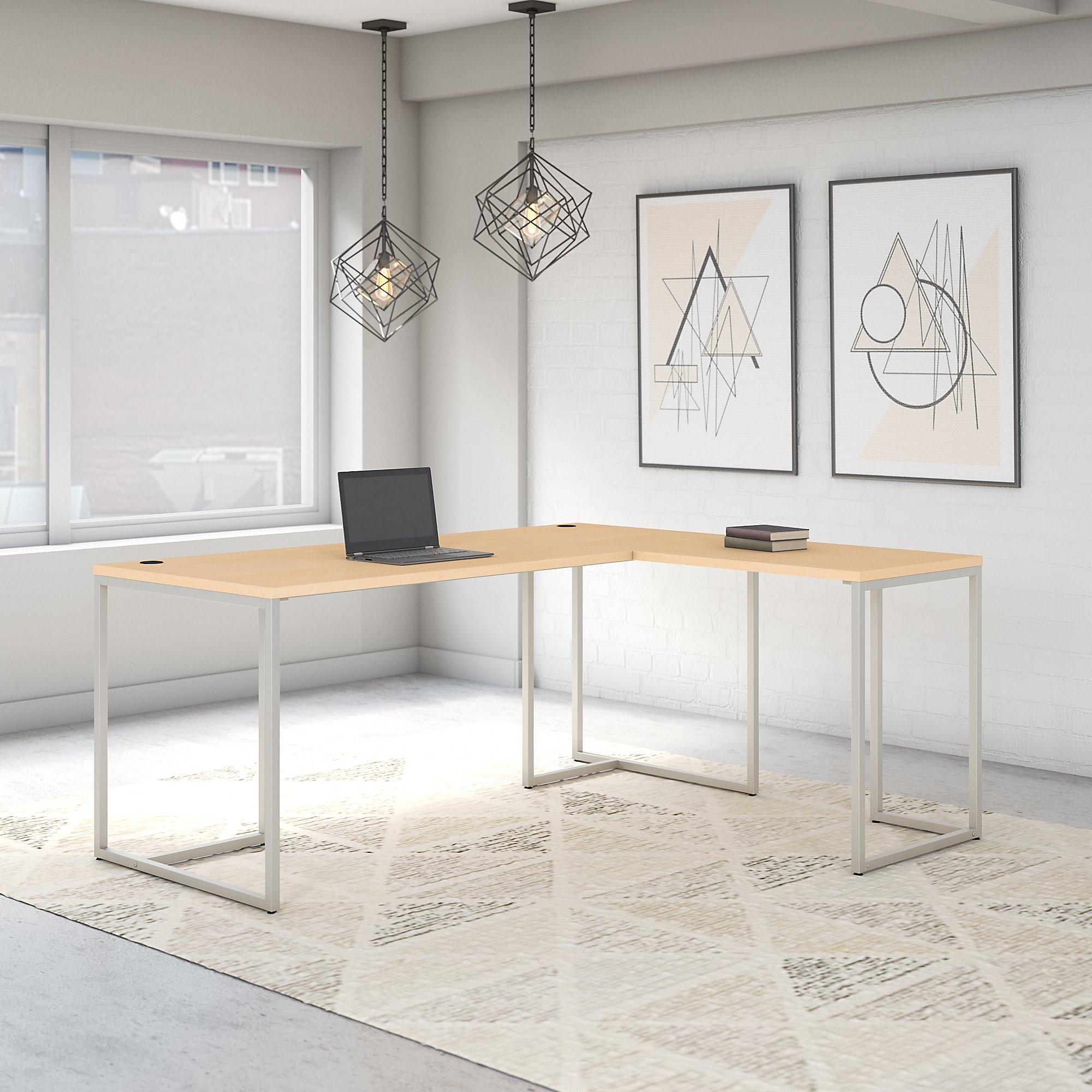 natural maple reversible l shaped method desk
