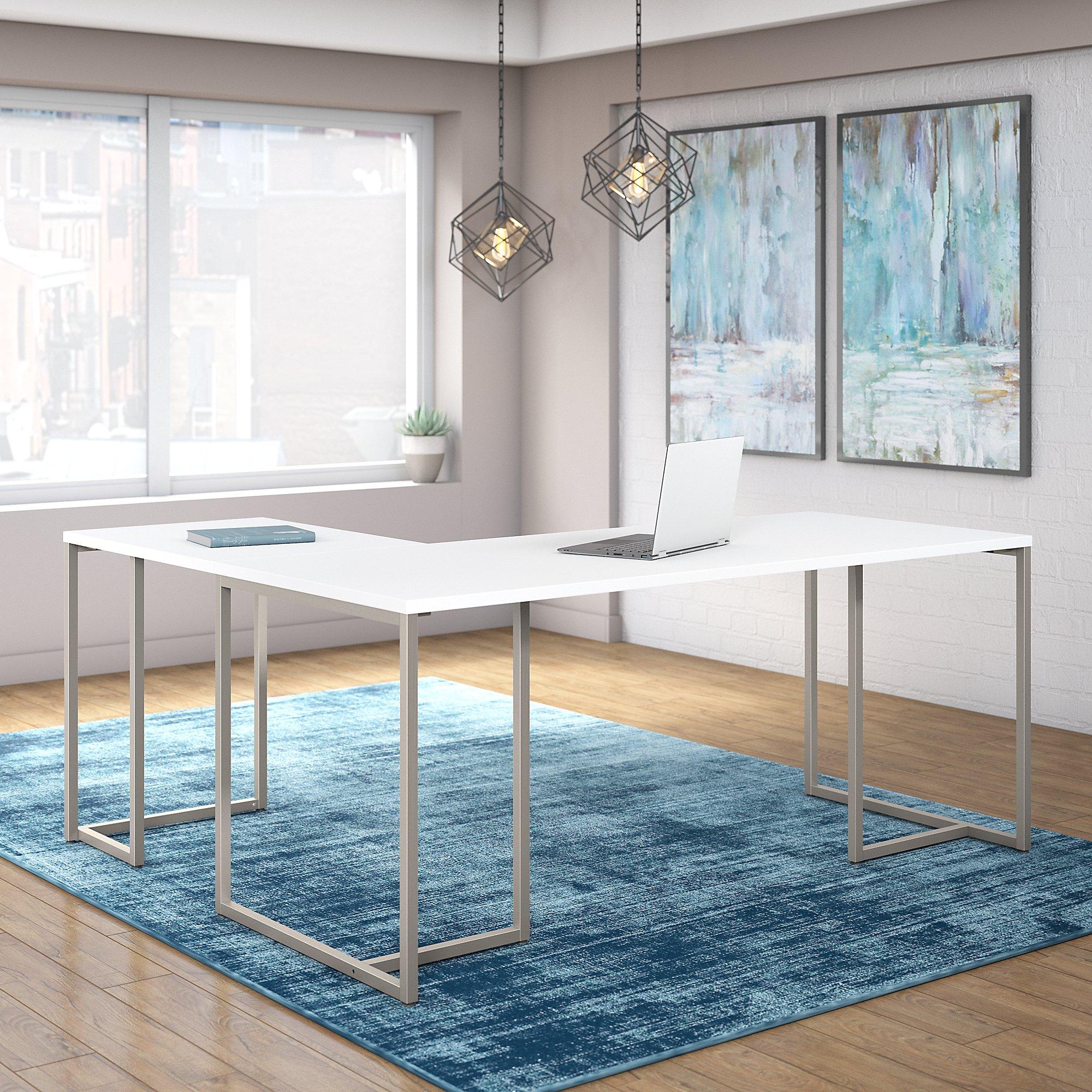 white reversible l shaped method desk