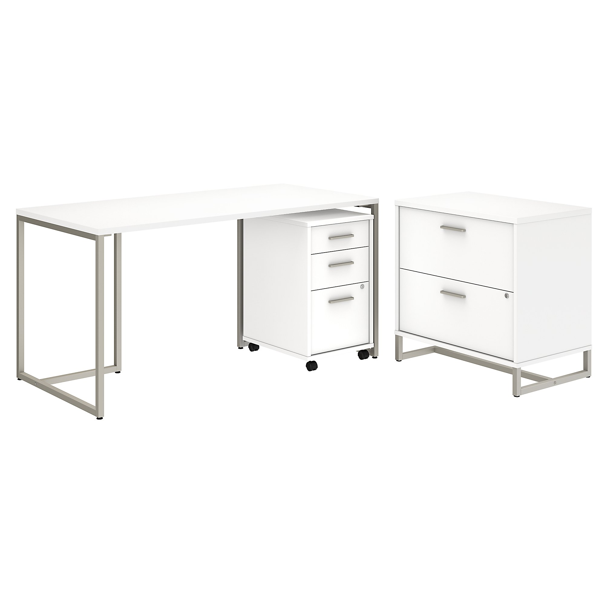 method writing desk with file cabinets in white
