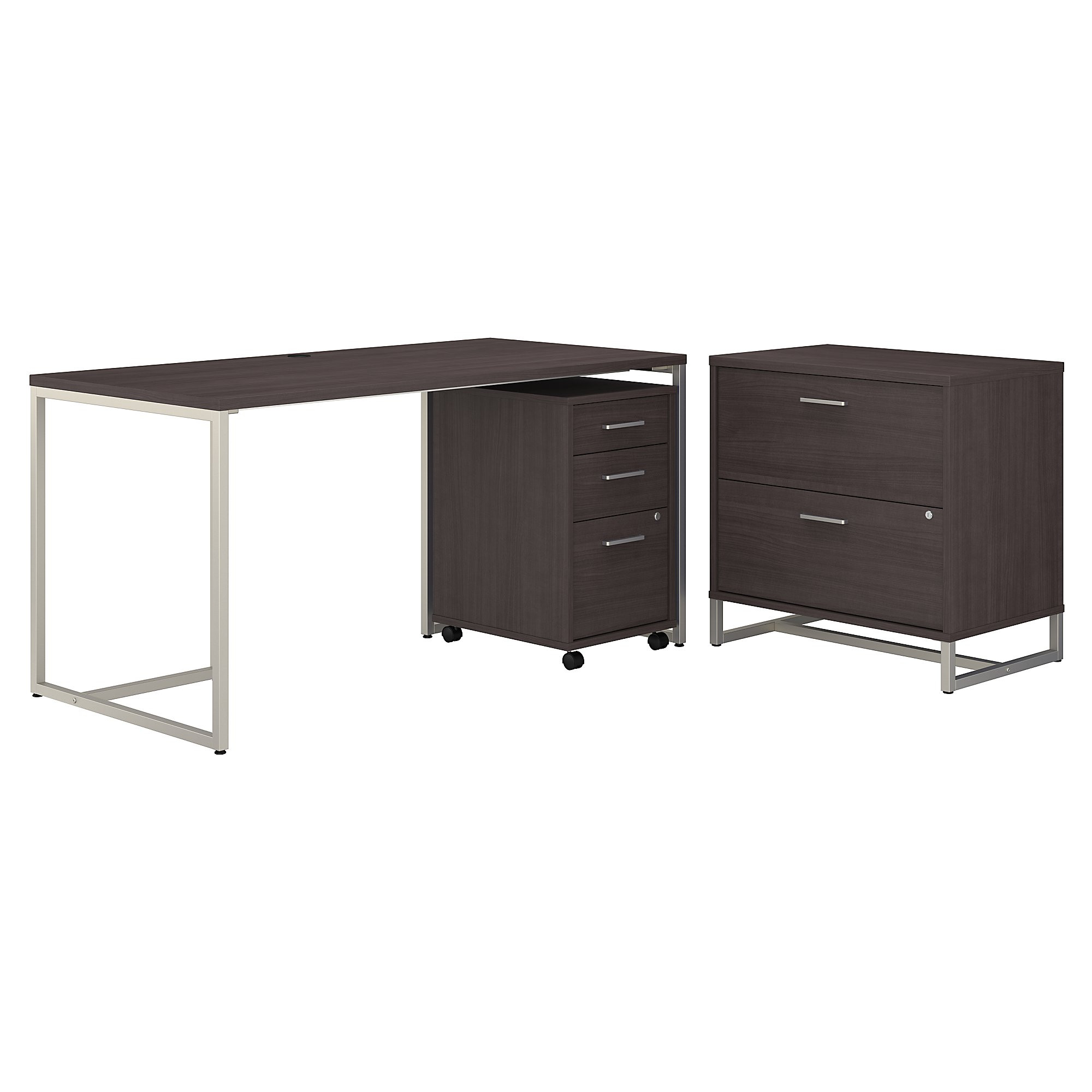 method writing desk with file cabinets in storm gray