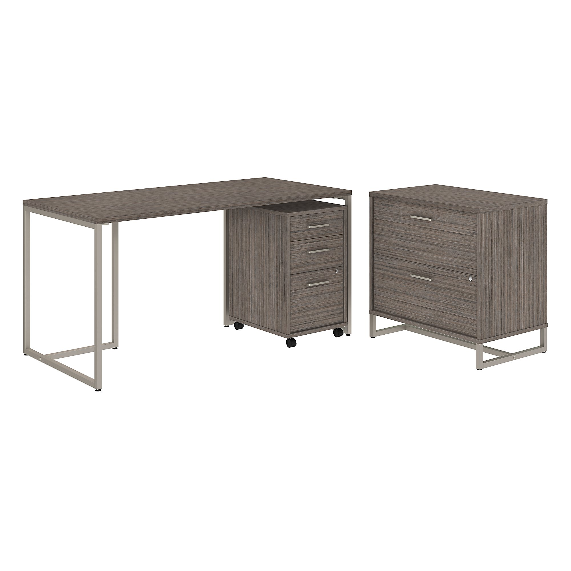 method writing desk with file cabinets in cocoa