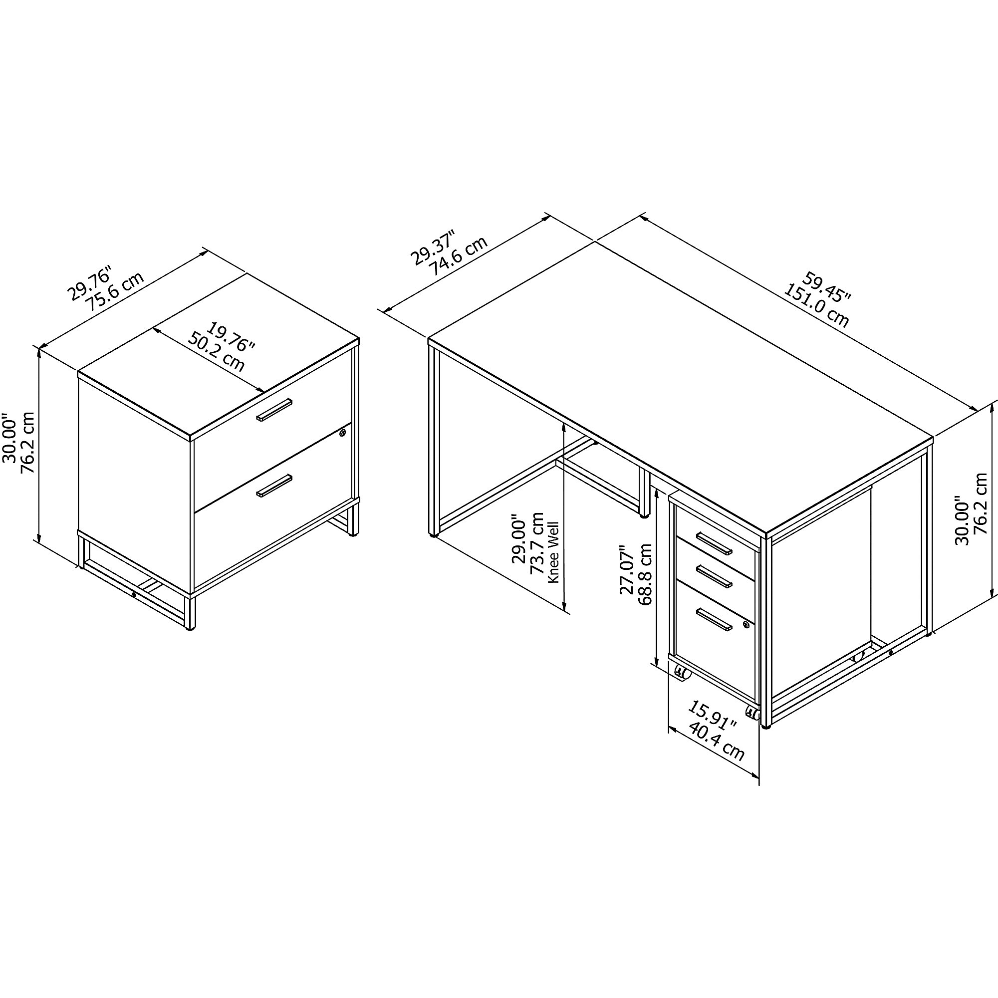 method writing desk with file cabinets dimensions