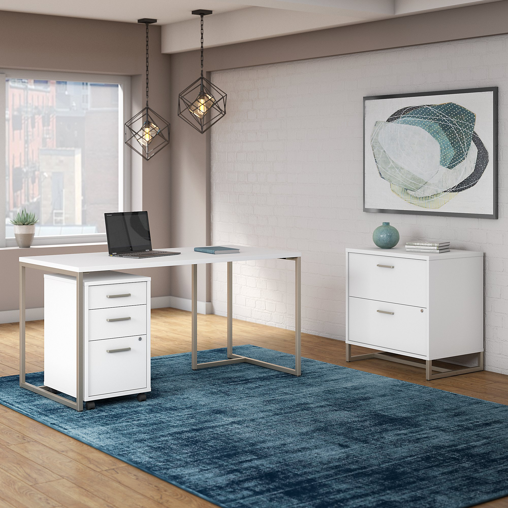 white method writing desk with file cabinets