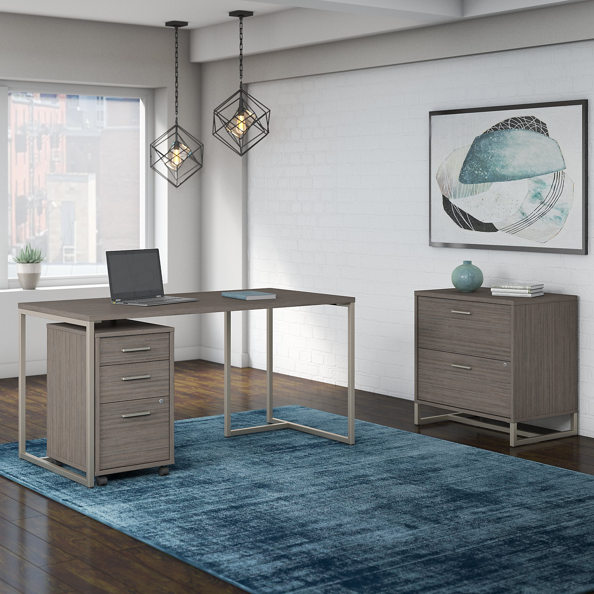 method writing desk with file cabinets