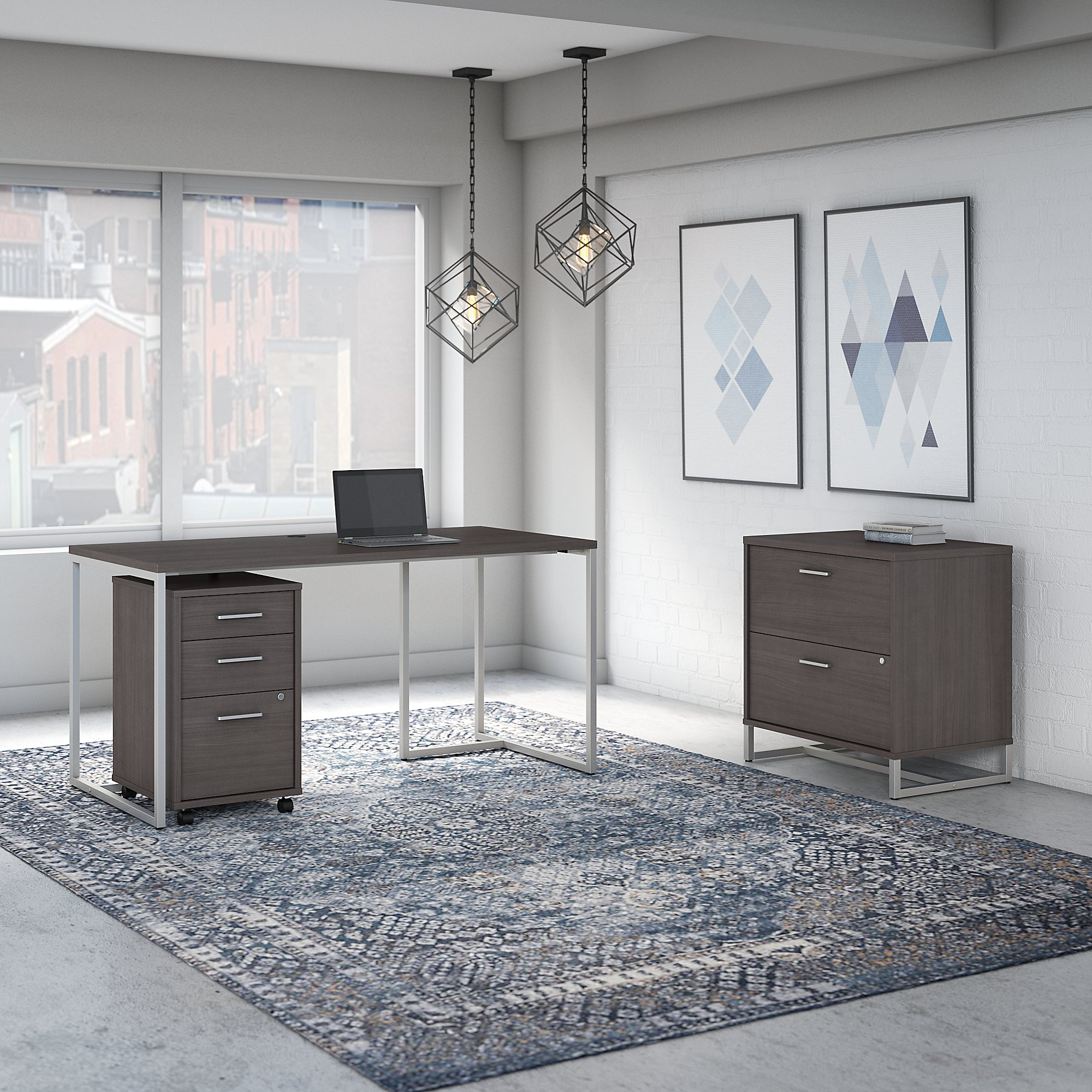 storm gray method writing desk with file cabinets