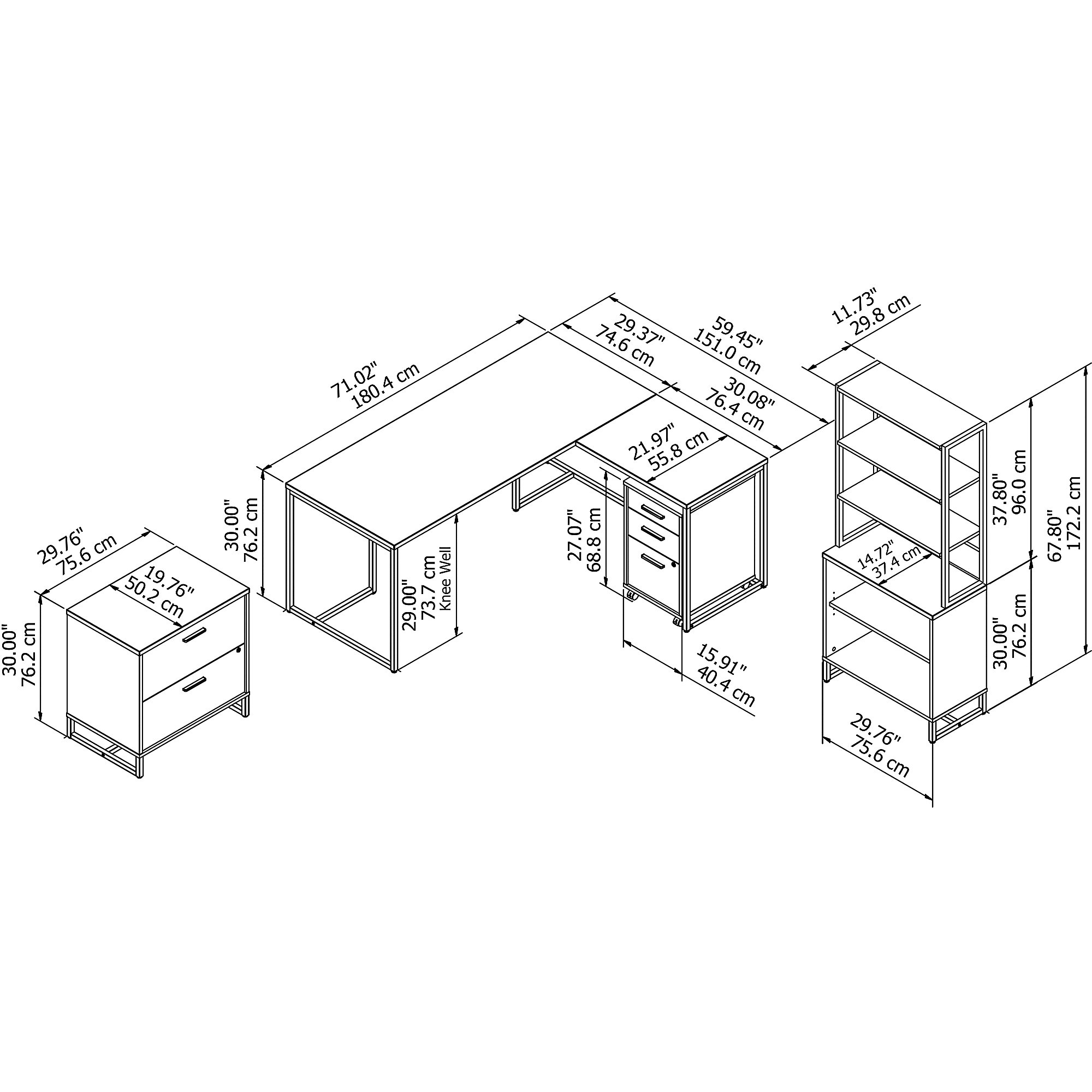 method collection office furniture set dimensions